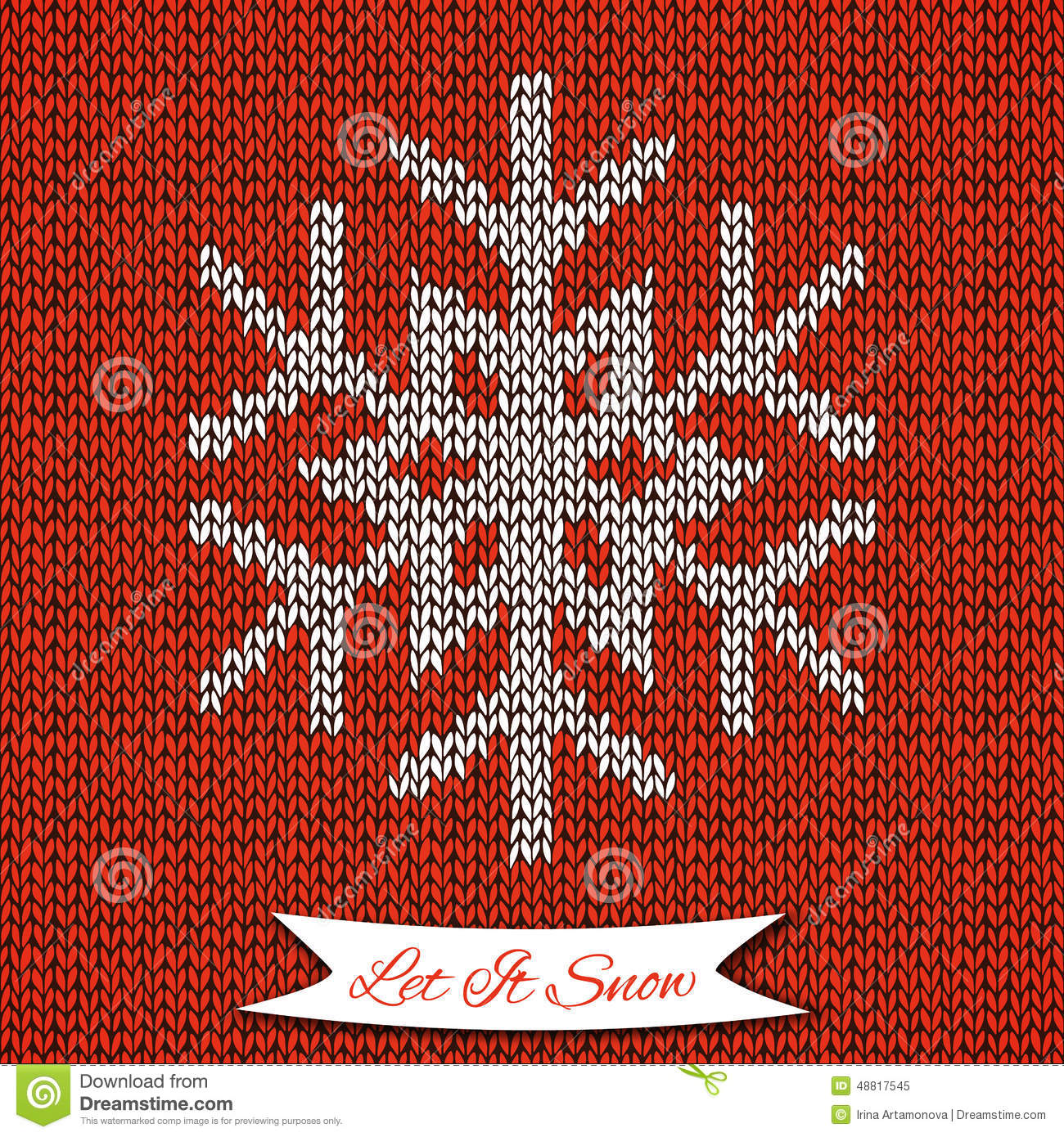 Seamless Pattern With Knitted Snowflake Stock Vector - Image: 48817545