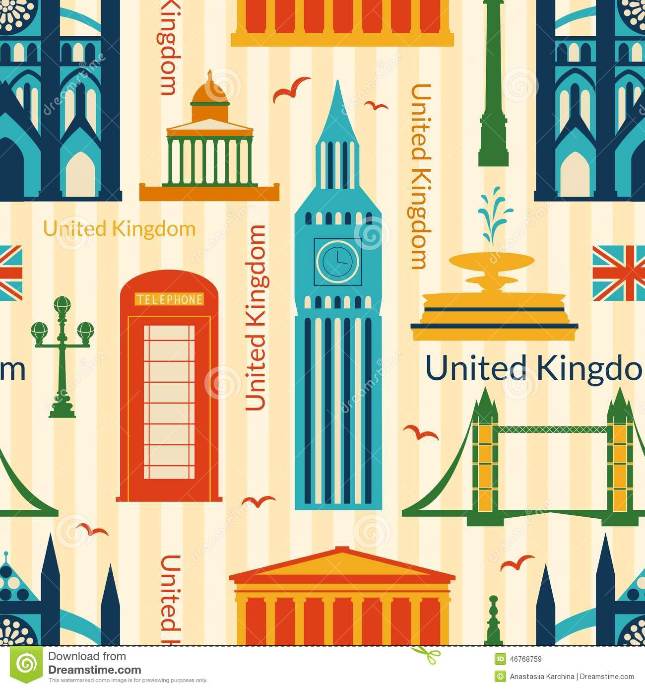 Seamless Pattern With Landmarks Of United Kingdom Stock Vector