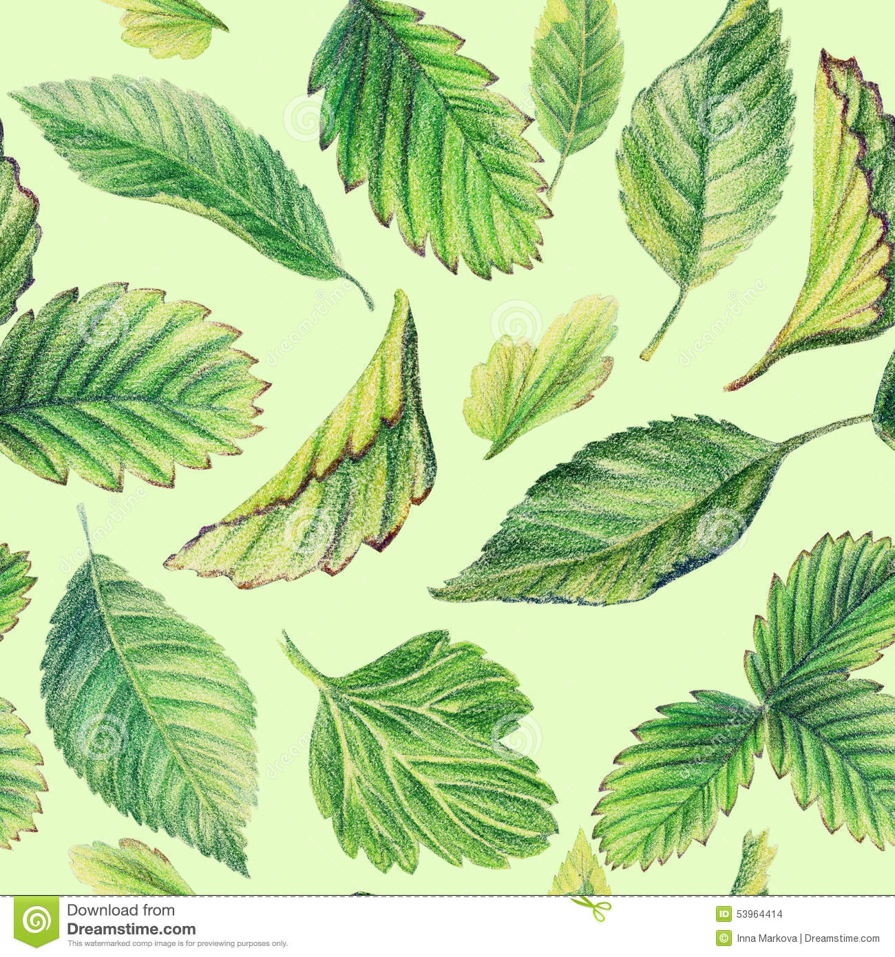 Seamless Pattern With Leaves. Drawing With Colored Pencils. Stock ...