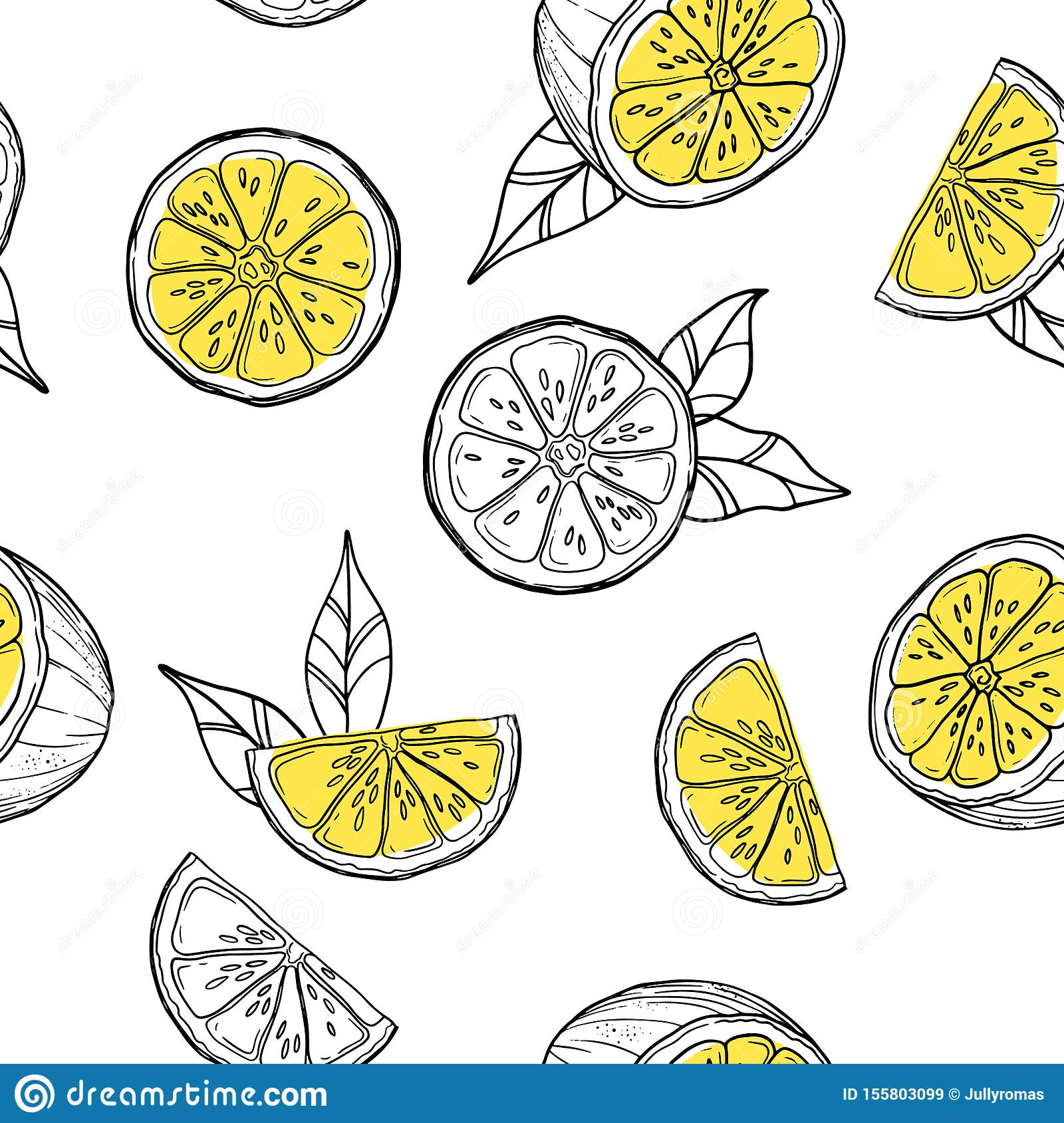 Seamless Pattern With Lemon Beautiful Exotic Print For Invitation