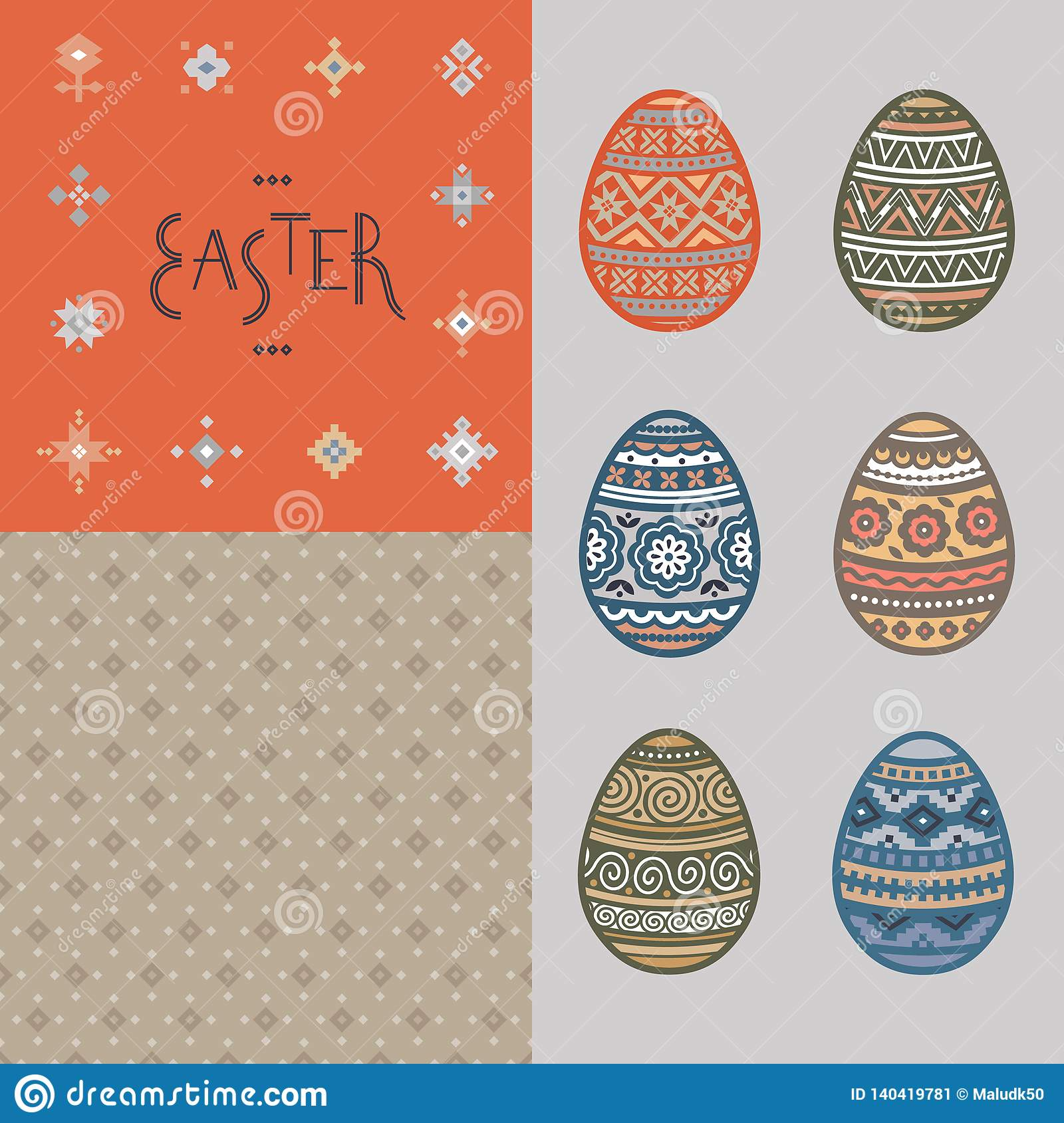 Seamless pattern, lettering and colorful Easter egg vector flat icons painted in traditional style.