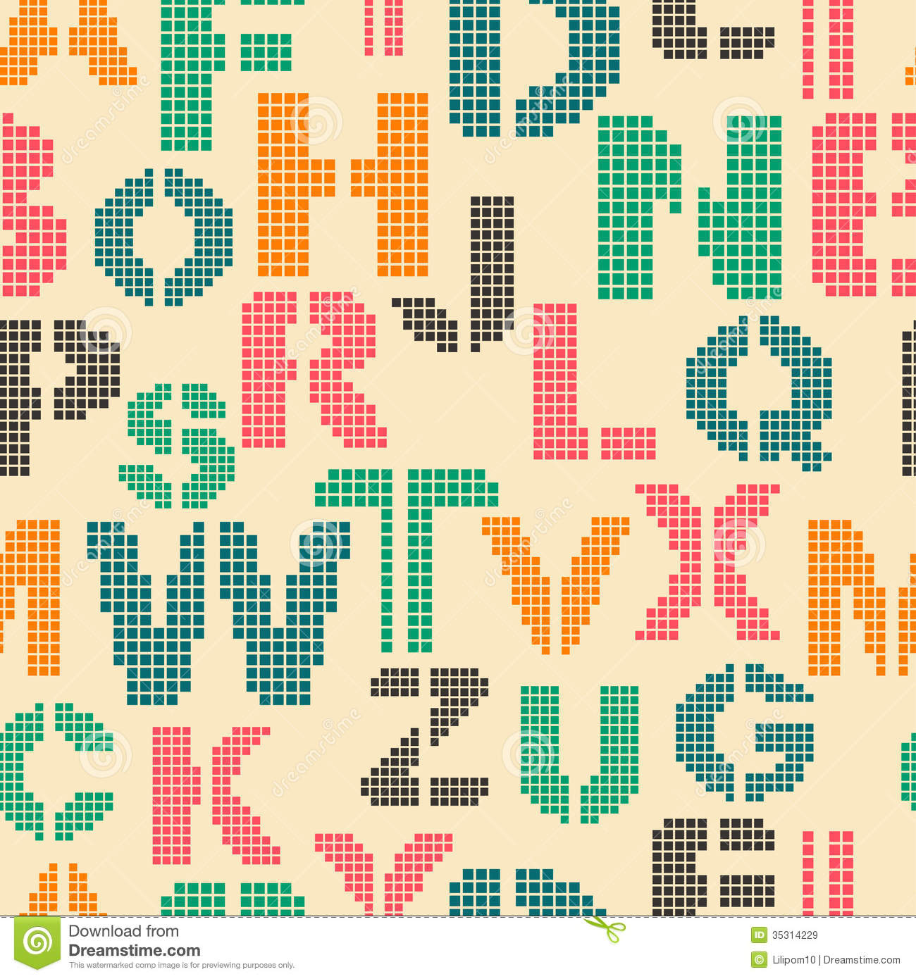 seamless pattern with letters of the alphabet