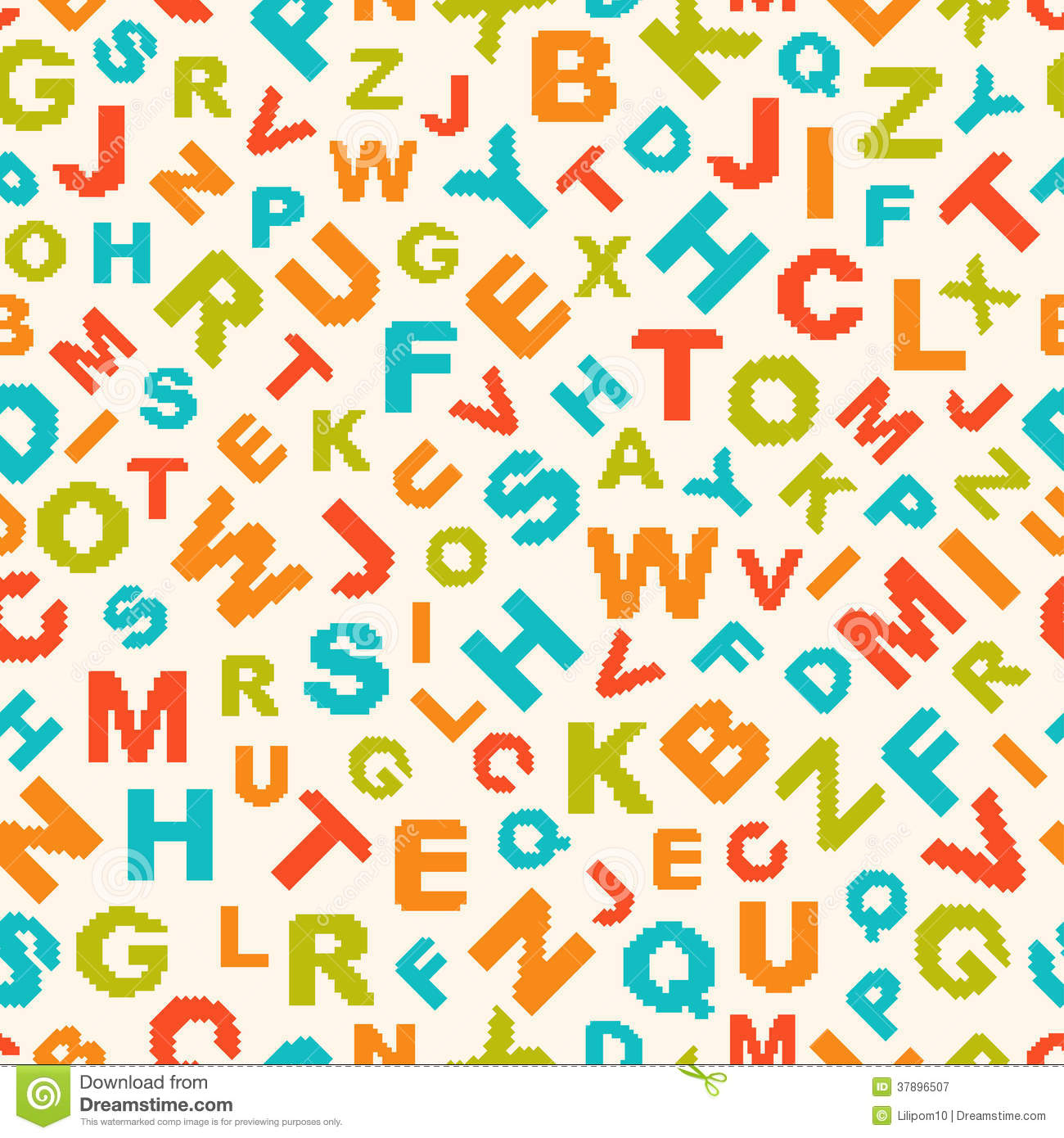 Seamless Pattern With Letters Of Alphabet Stock Vector