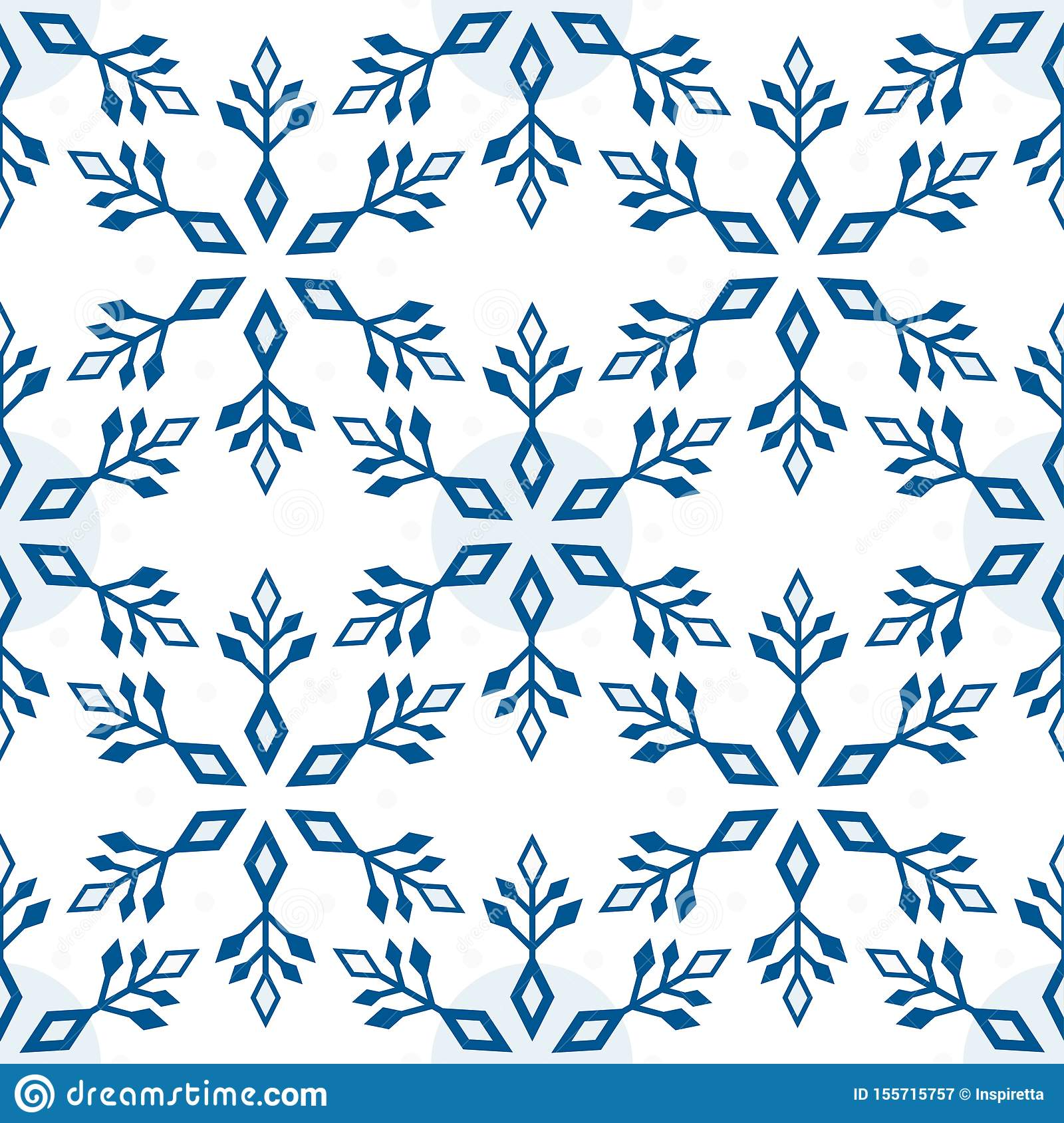 Seamless pattern from light blue snowflakes on a white background. Abstract geometric winter shapes, vector illustration
