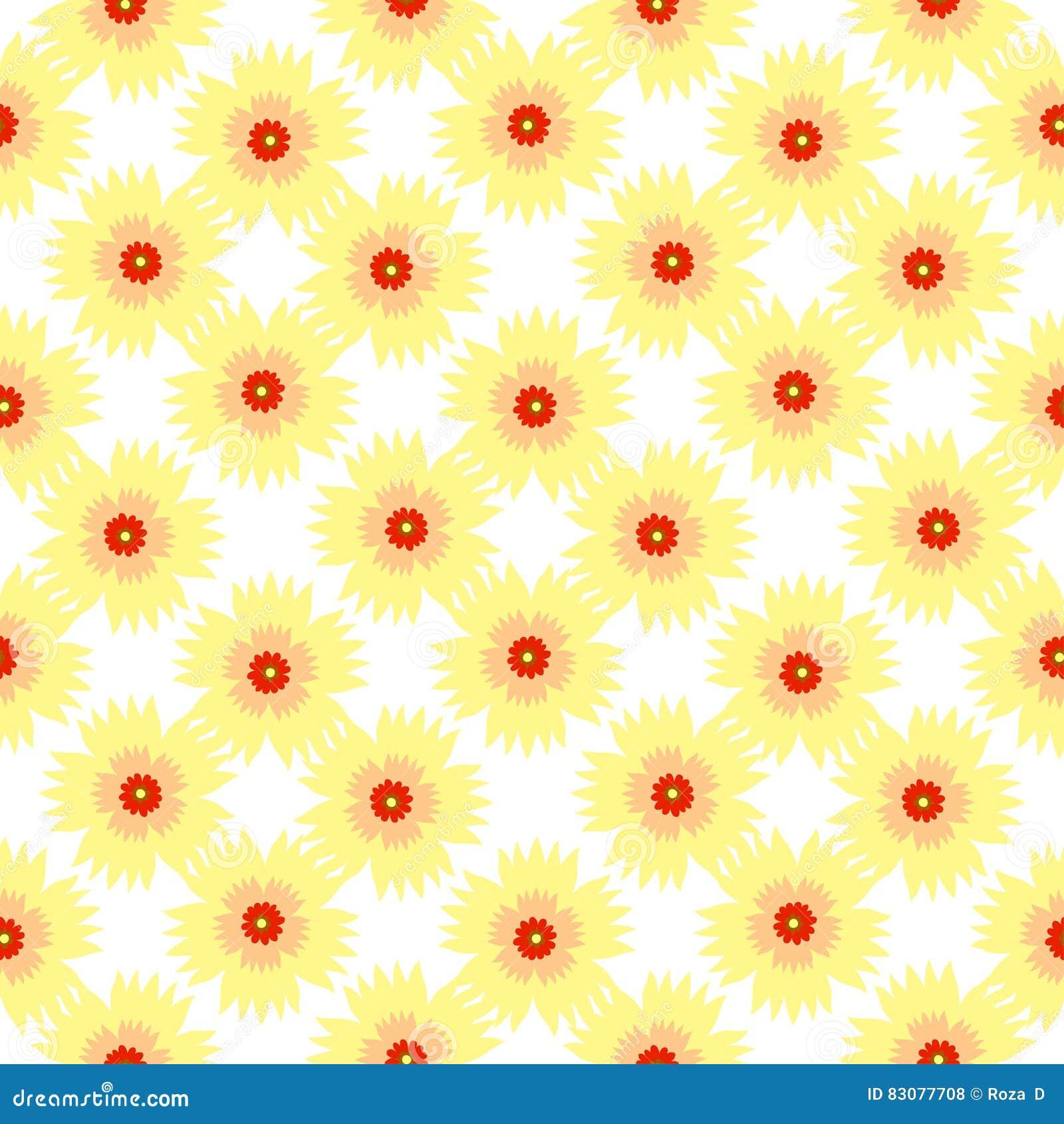 Seamless Pattern Of Light Yellow Flowers Stock Vector Illustration