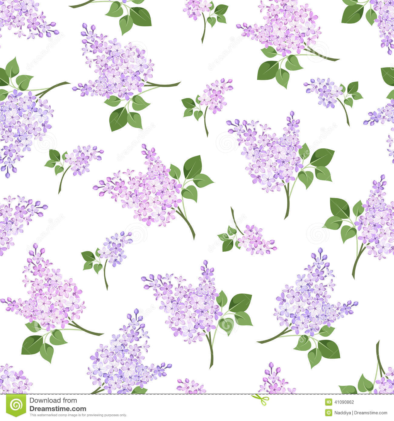 Seamless Pattern With Lilac Flowers. Vector Illustration
