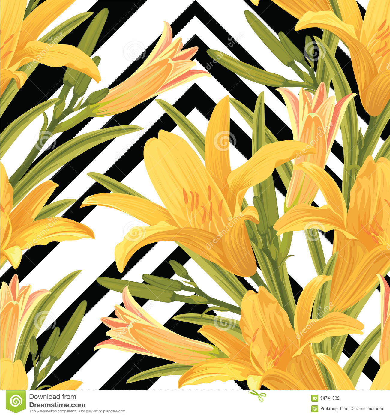 Seamless pattern of lilies flower with leaf on black and white download comp izmirmasajfo