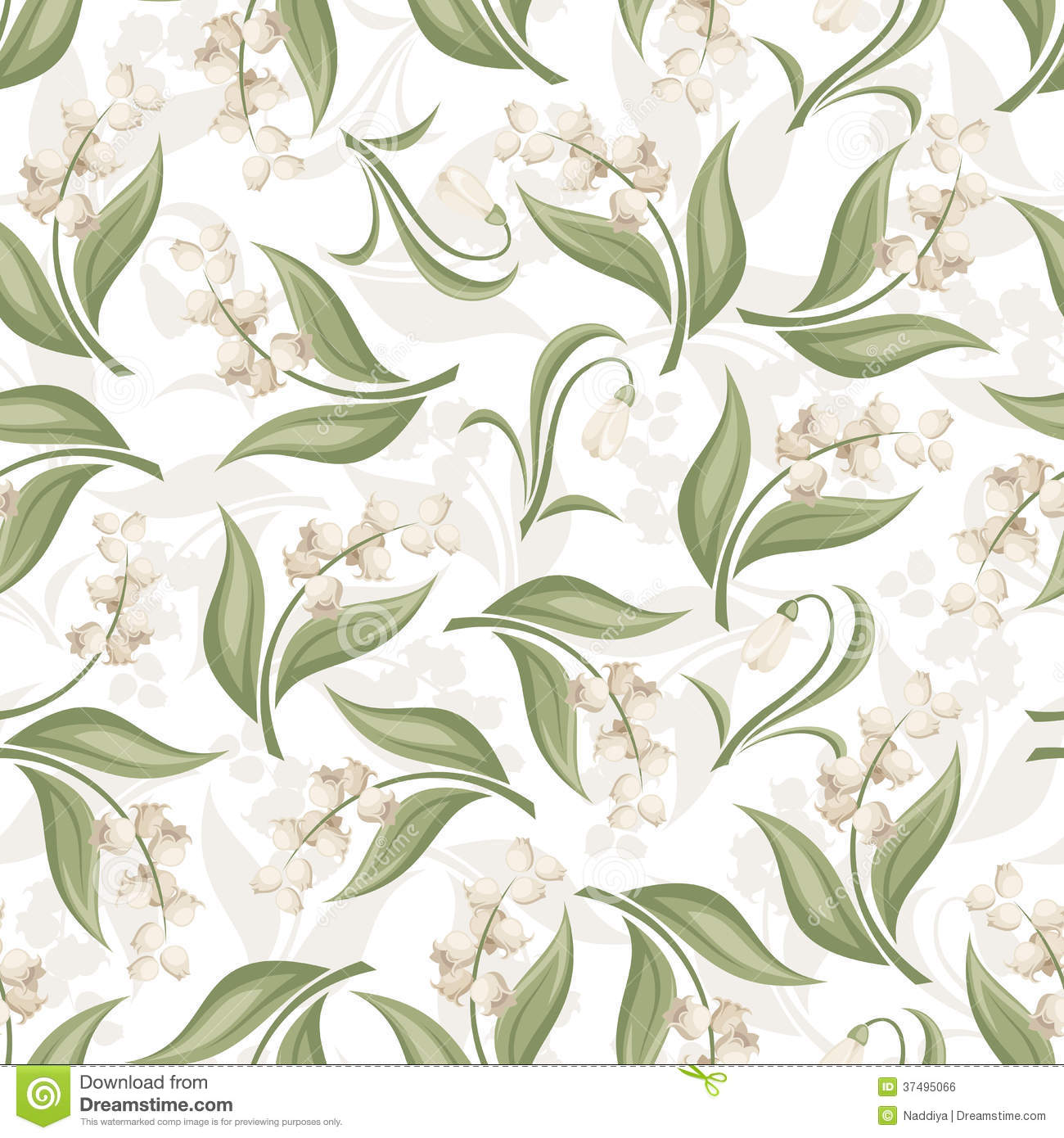 Seamless Pattern With Lily Of The Valley And Snowd Stock Vector