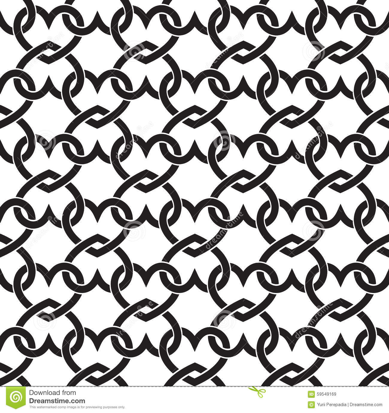 Seamless Pattern Of Links In Form Of Hearts Stock Vector - Image ...