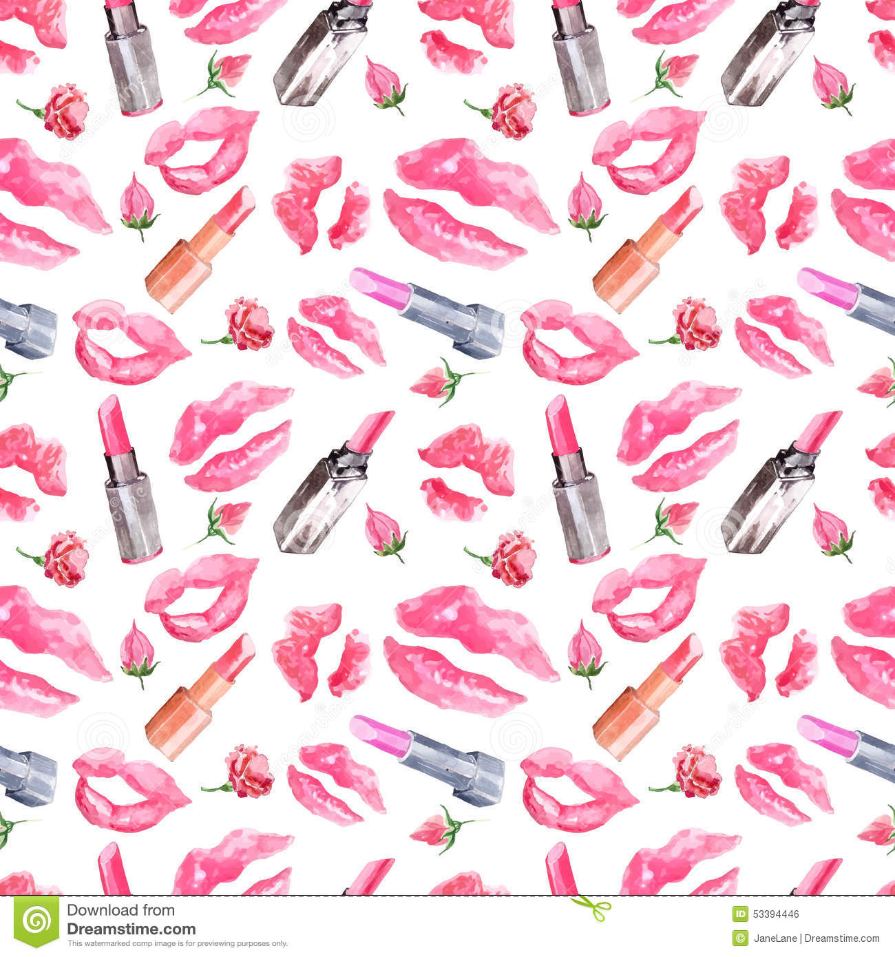 Seamless Pattern With A Lipstick Kiss Prints Stock