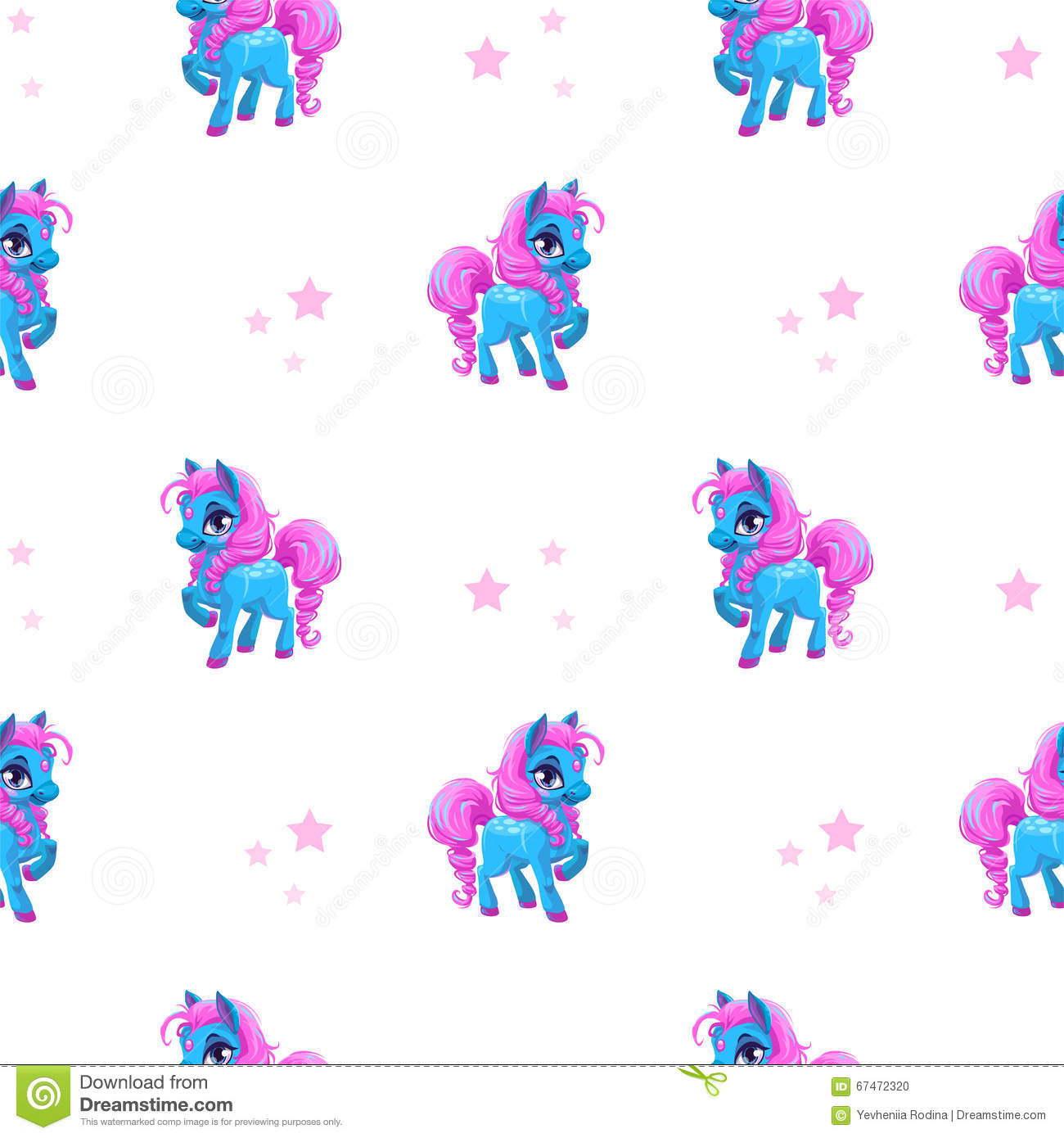 Seamless Pattern With Little Cartoon Blue Pony Stock
