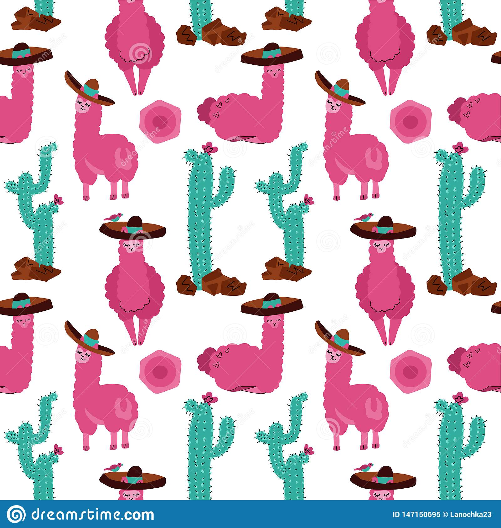 Seamless pattern with llama in sombrero, cactus and hand drawn elements. Creative childish texture. Great for fabric, textile hand