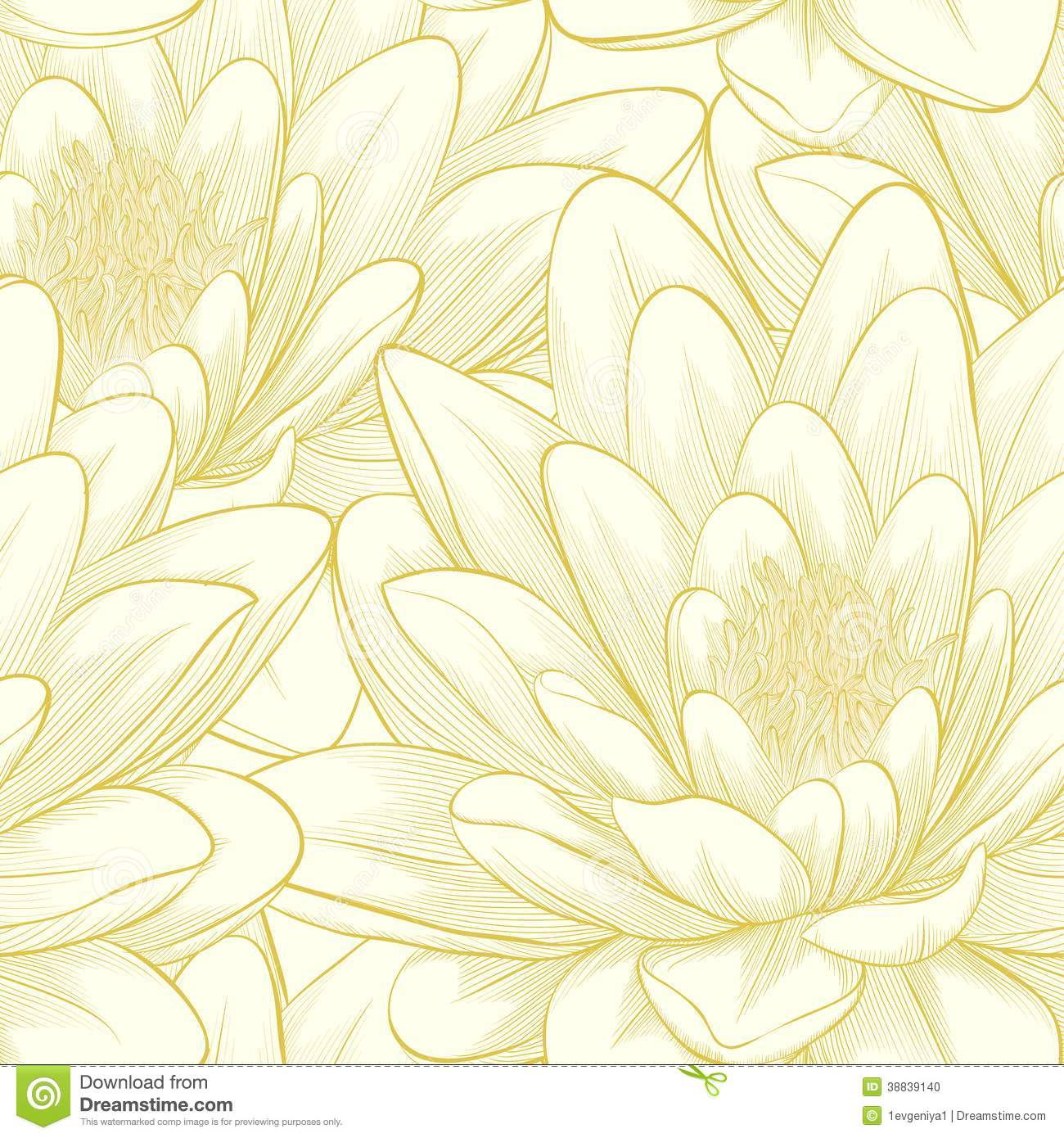 Seamless Pattern With Lotus Flowers. Stock Illustration - Image: 38839140