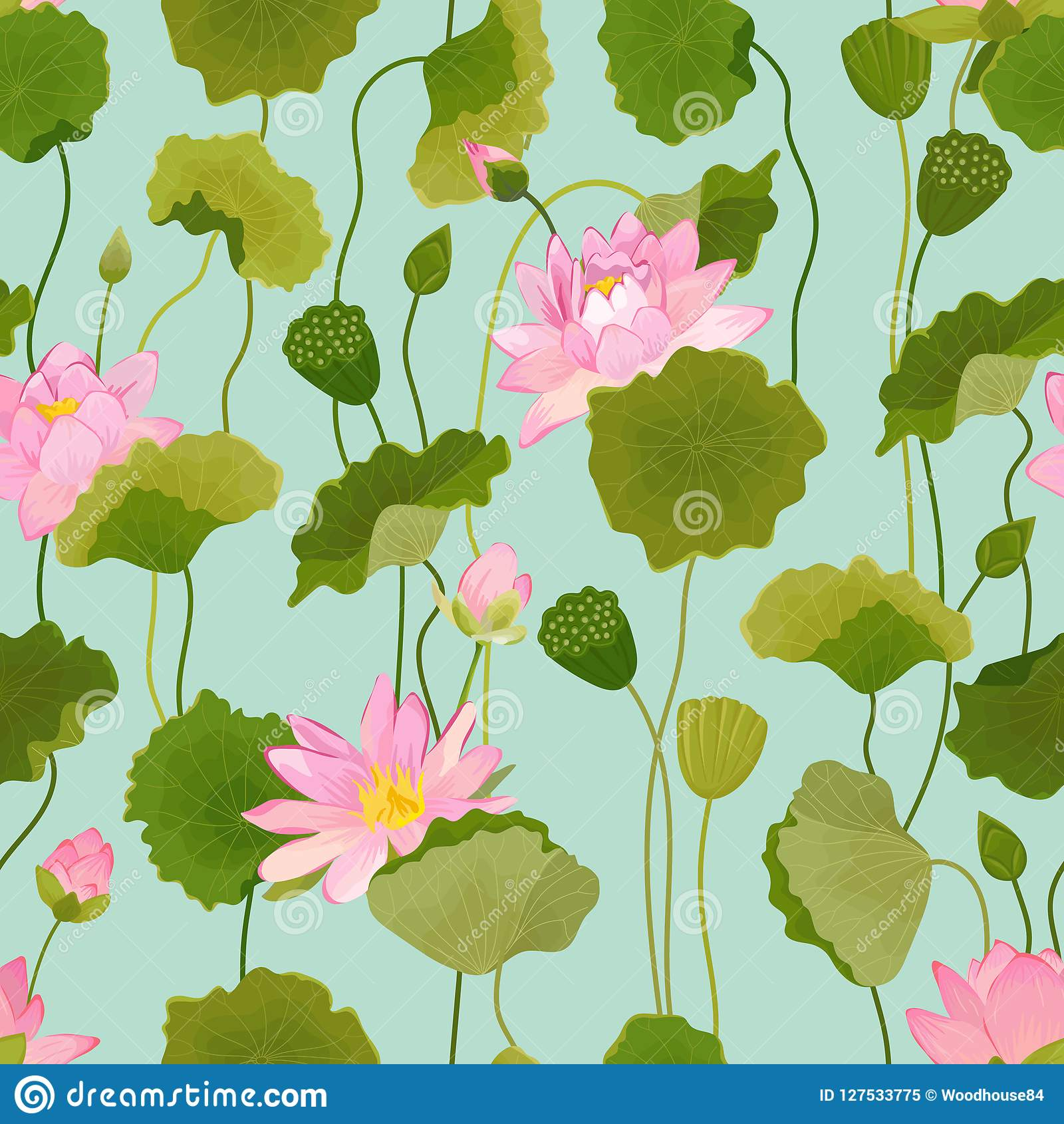 Seamless Pattern With Lotus Flowers And Leaves Retro Tropical