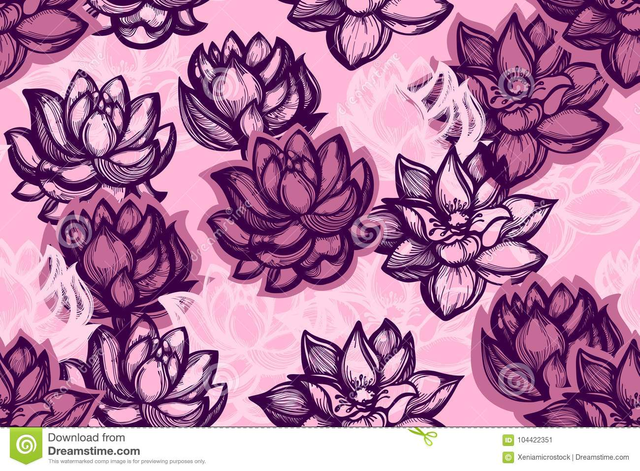 Seamless pattern with lotus flowers on a pink background background seamless pattern with lotus flowers on a pink background background with water flowers in the chinese style vector illustration hand drawn izmirmasajfo