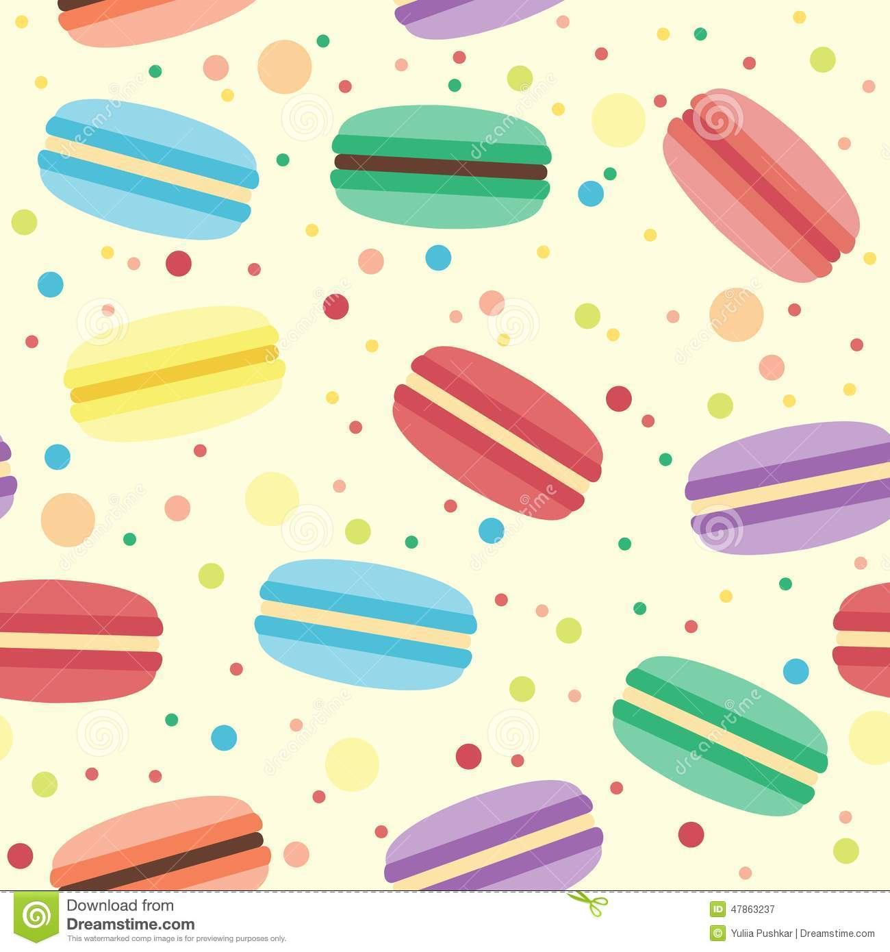seamless pattern with macarons stock vector