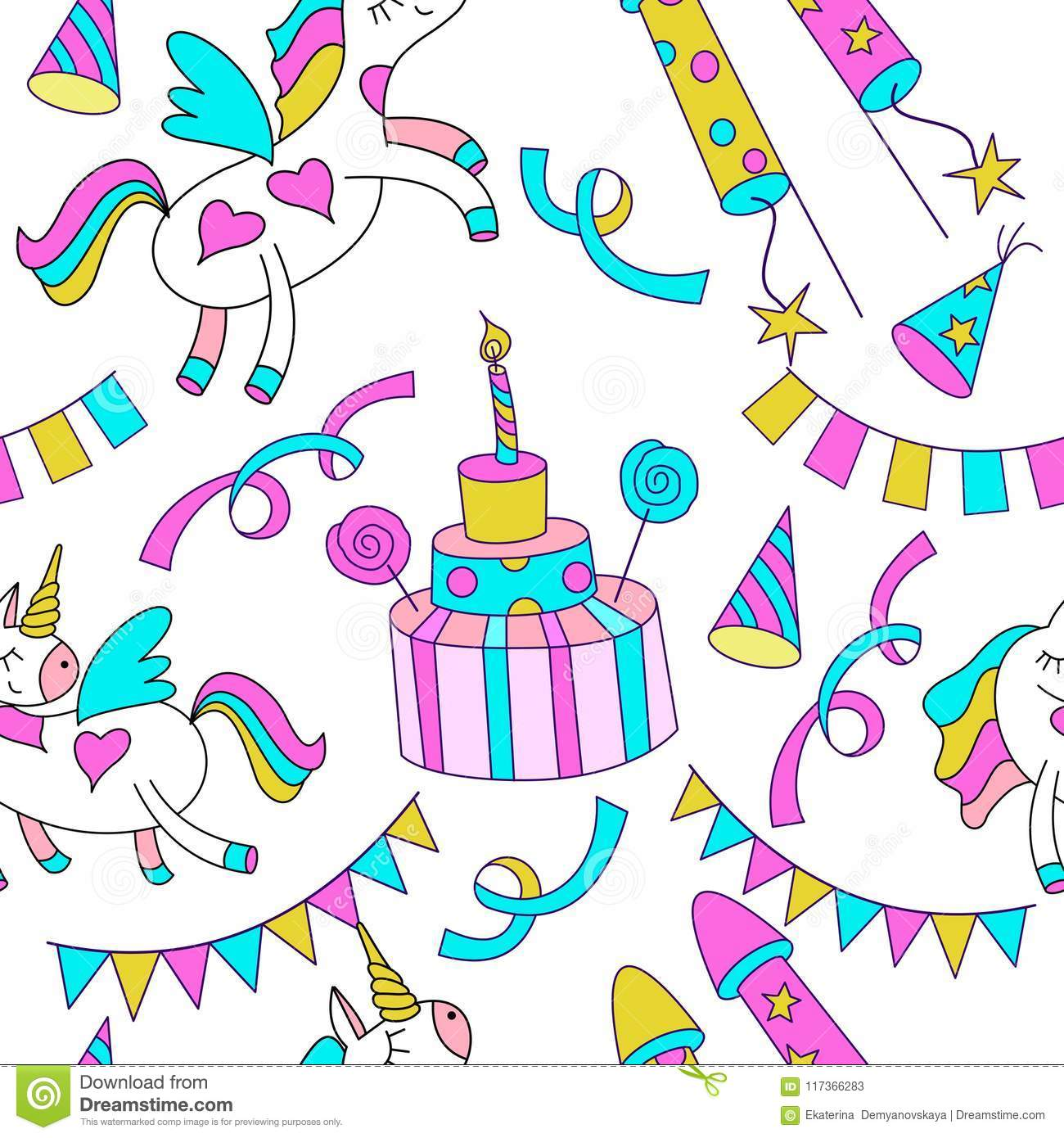 Cute Magic Unicorns Birthday Cake With Candles Holiday Accessories On White Background