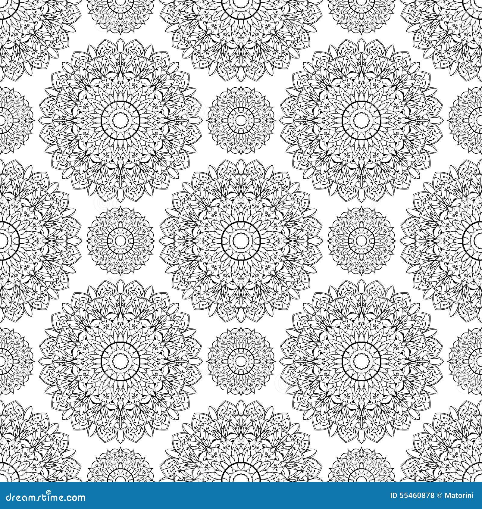 Vector Seamless Pattern Of Mandalas Oriental Ornament Black