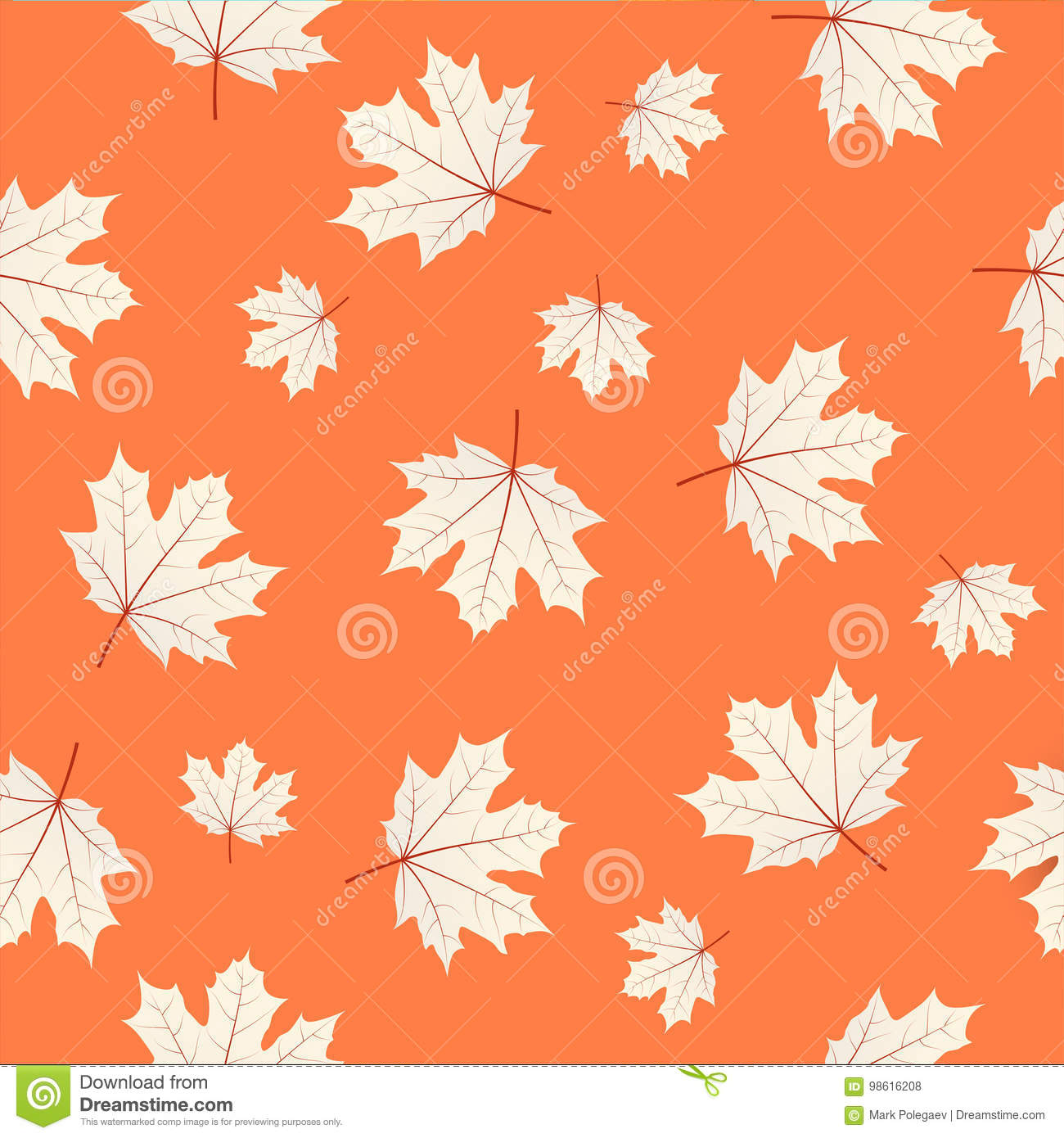 Seamless Pattern With Maple Leaves On Orange Background. Autumn ...