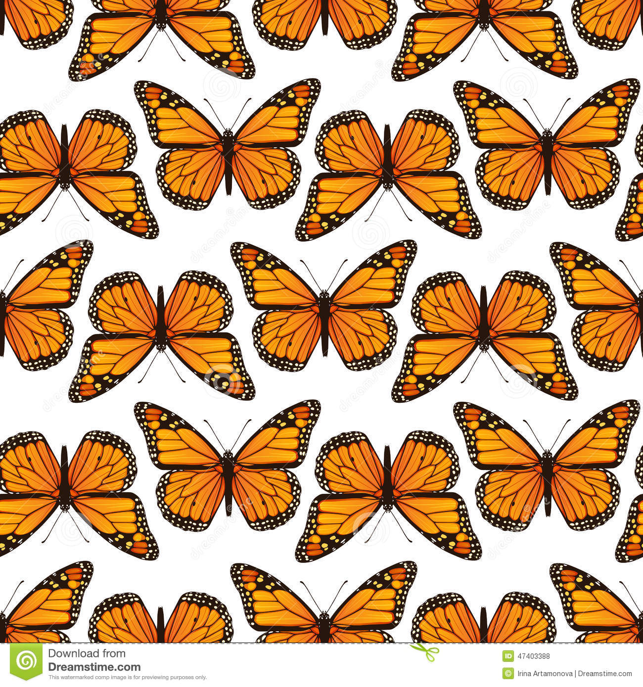 Seamless Pattern With Monarch Butterflies Stock Vector