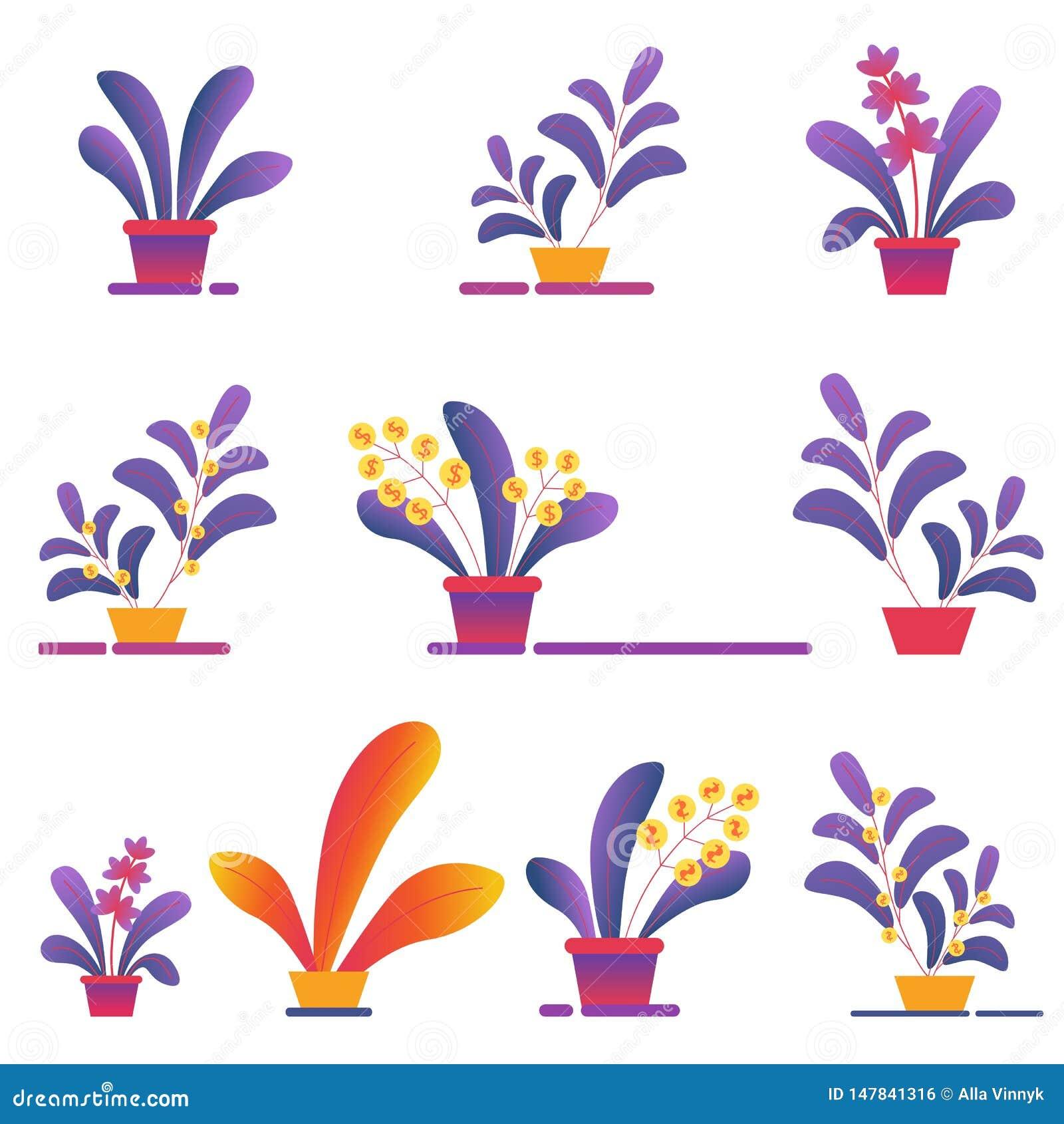 Seamless Pattern of Money Homeplants Grow in Pots