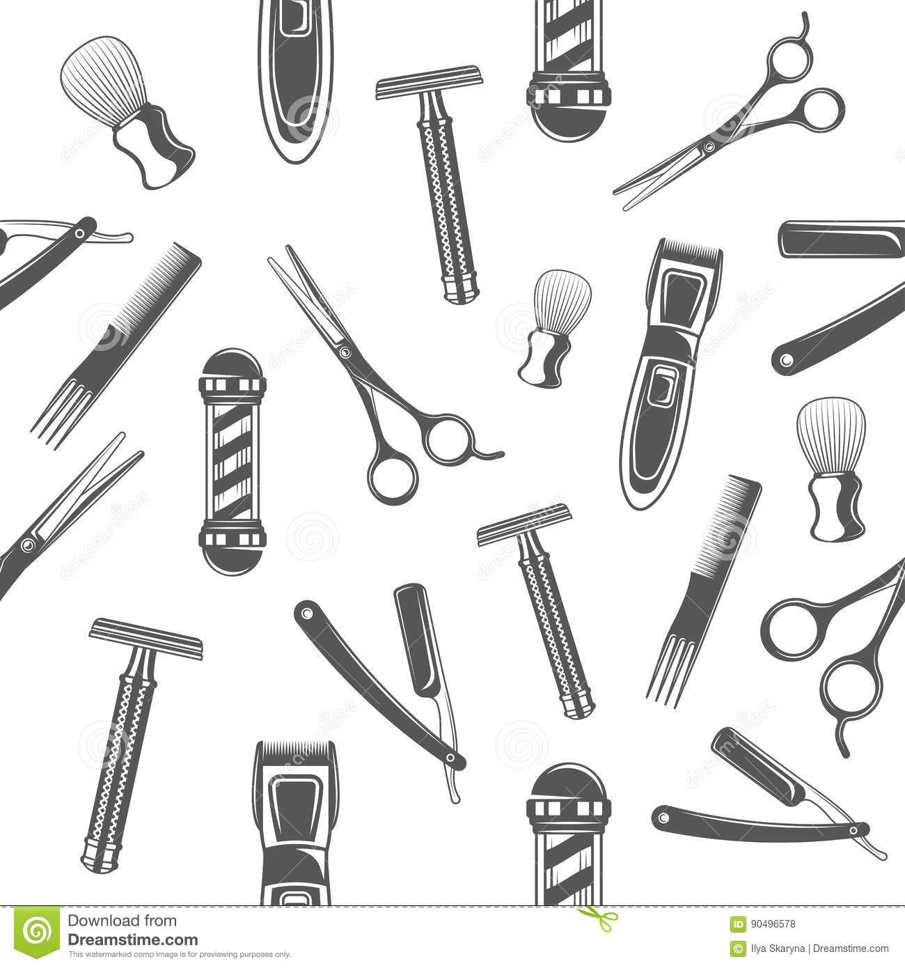 Seamless Pattern With Monochrome Tools For Barber Shop And