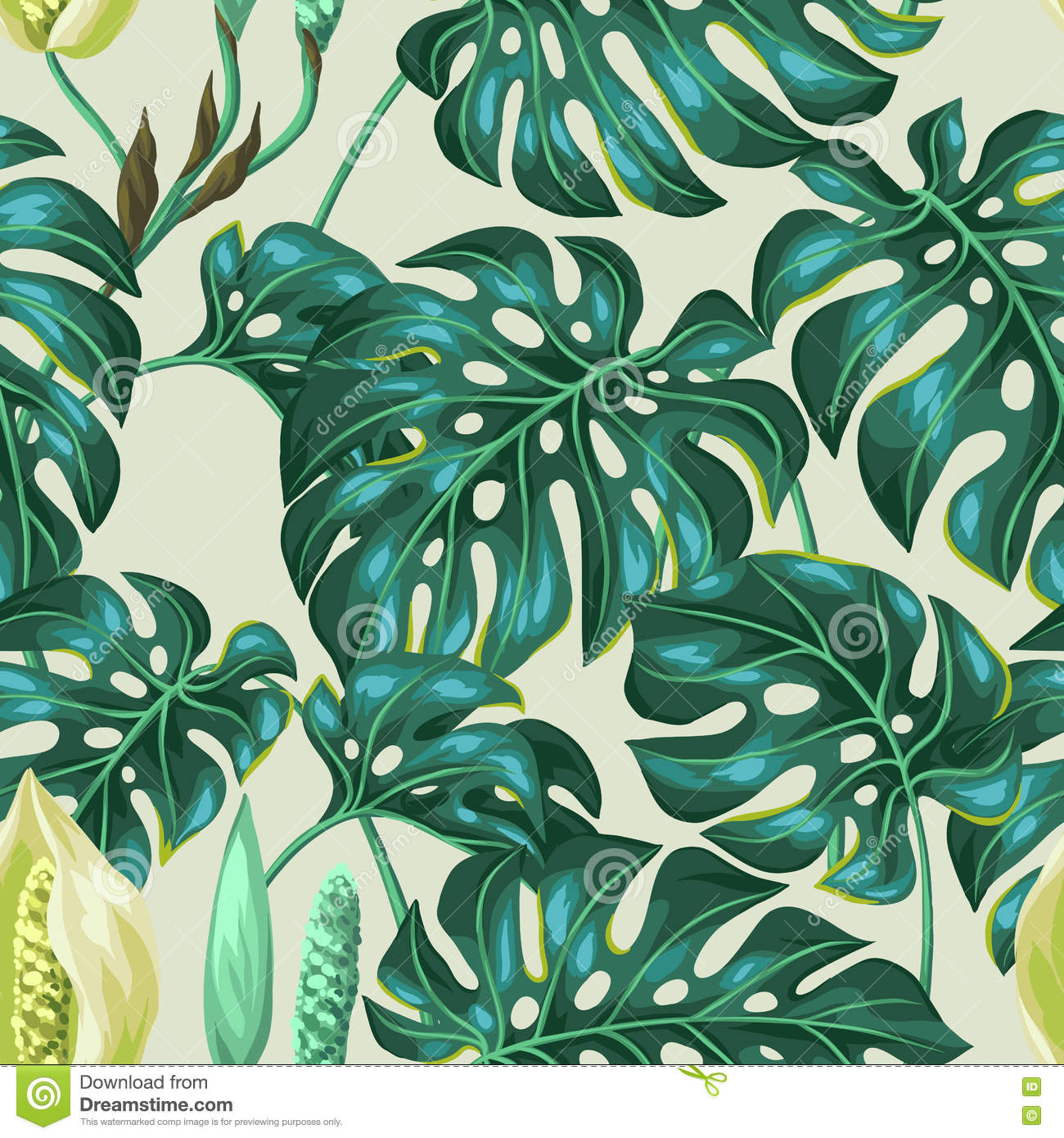 Seamless Pattern With Monstera Leaves. Decorative Image Of