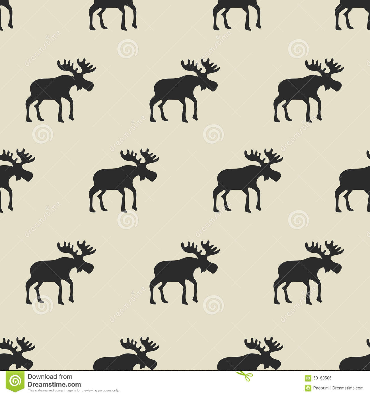 Pattern Moose Seamless Pattern Hand Drawn Stock Vector 517301905 ...