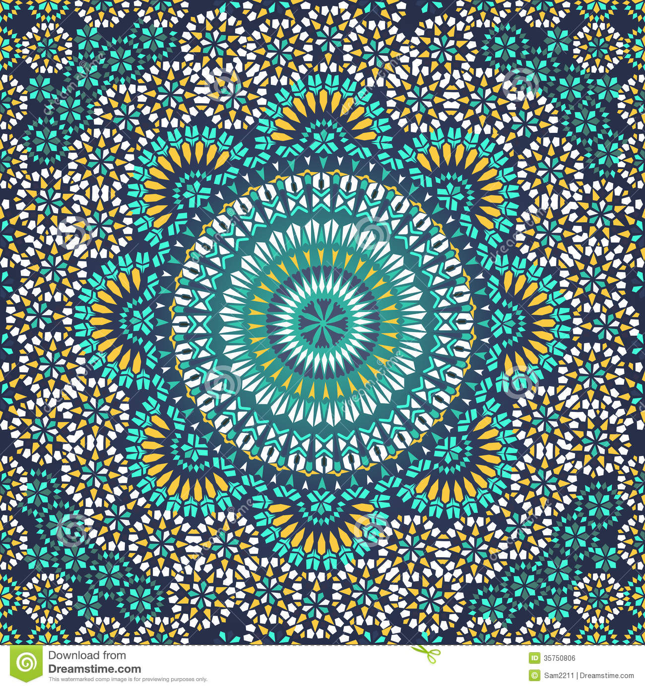 Seamless Pattern In Mosaic Ethnic Style Stock Photo