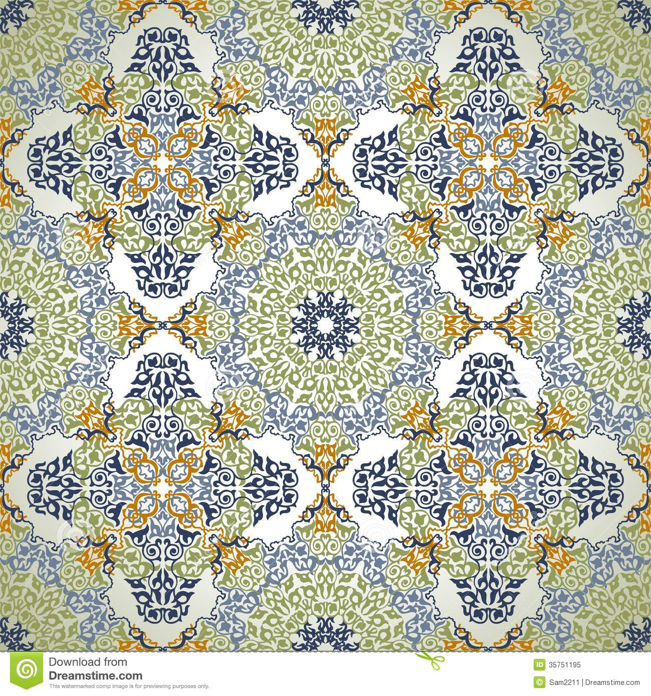 Traditional Turkish Ottoman Red Flower Home Decor Mosaic: Seamless Pattern In Mosaic Ethnic Style. Stock Image