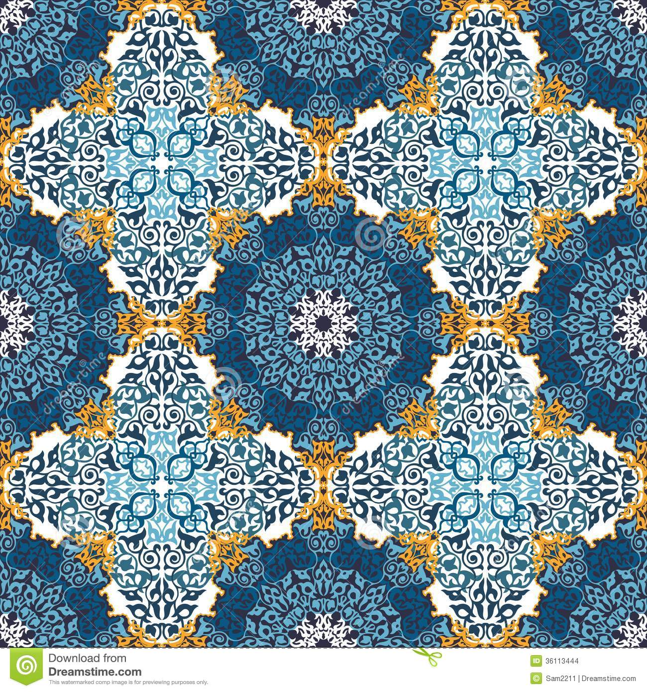 Seamless Pattern In Mosaic Ethnic Style Stock Vector