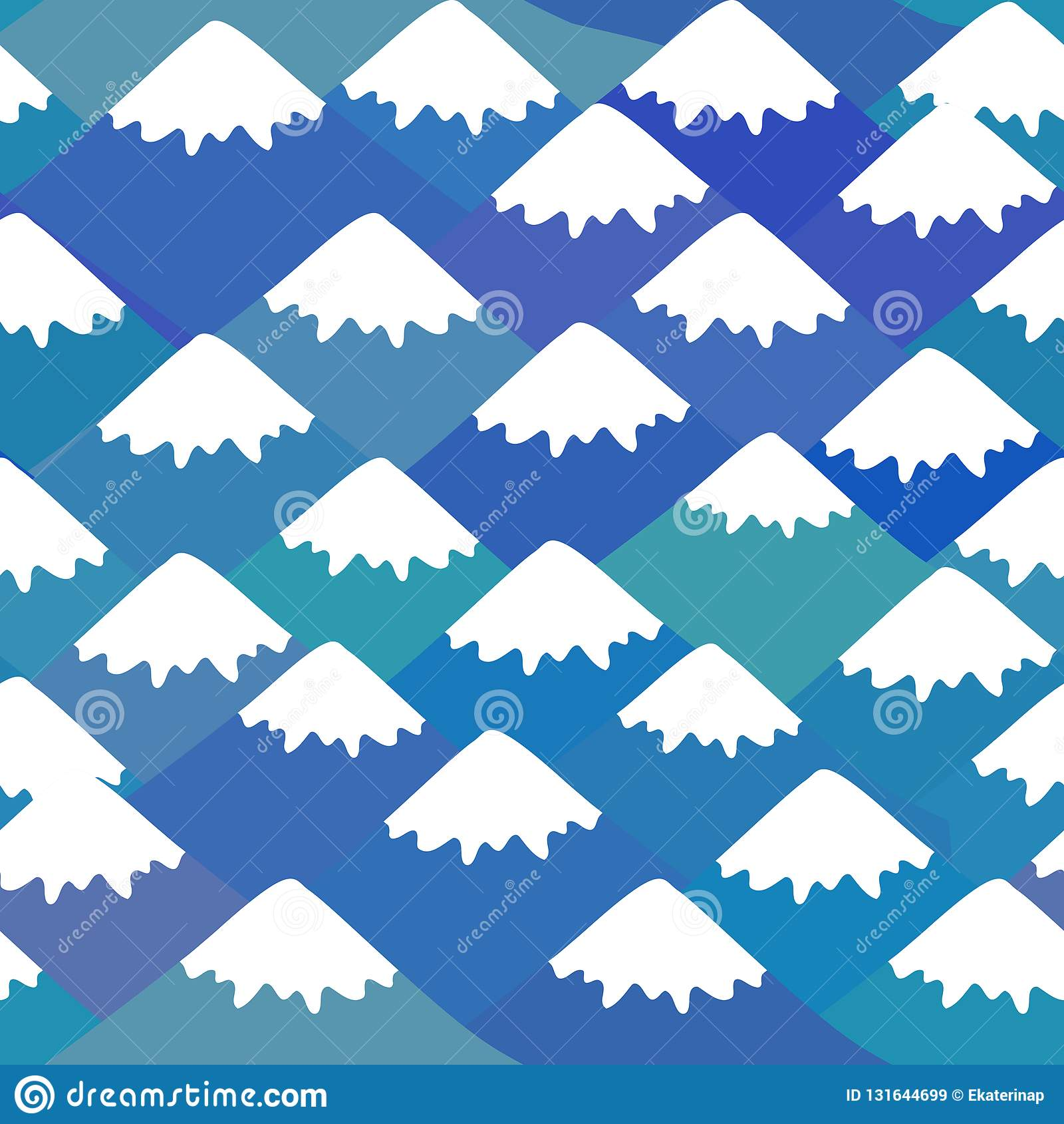 Seamless pattern Mount Fuji, Nature background with Japanese landscape. navy blue mountain with snow-capped peaks. Vector