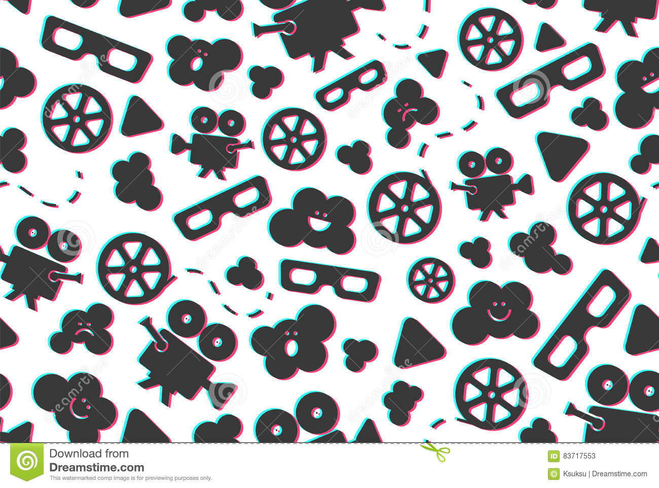 Seamless Pattern Of Movie Design Elements Stock Vector