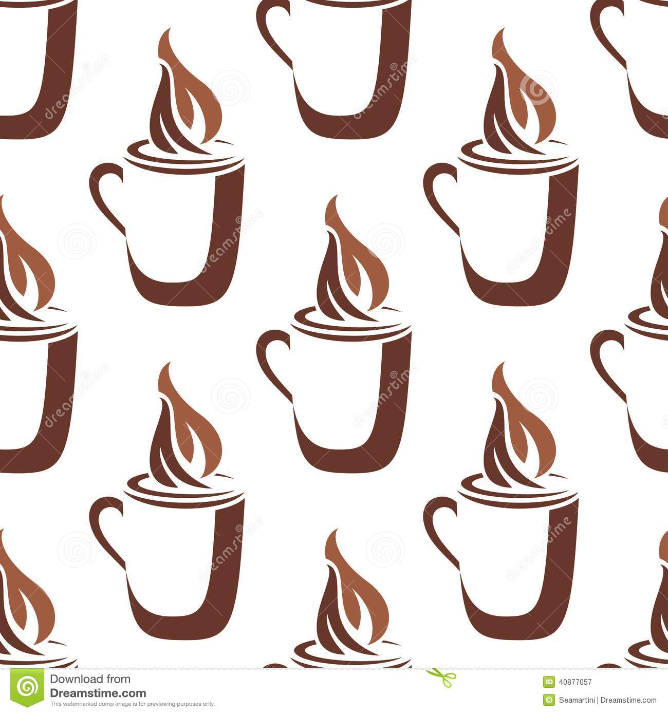 Seamless Pattern Of A Mug Of Steaming Hot Coffee Stock