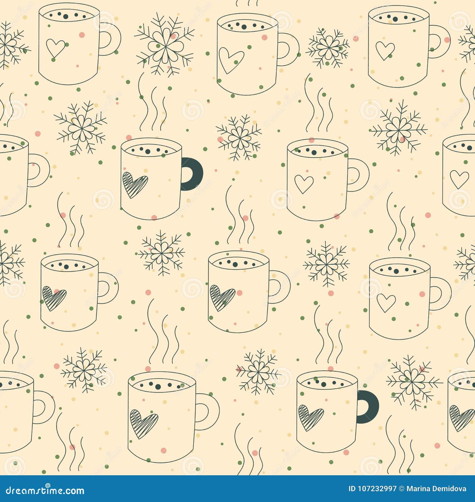 Seamless pattern mugs and snow