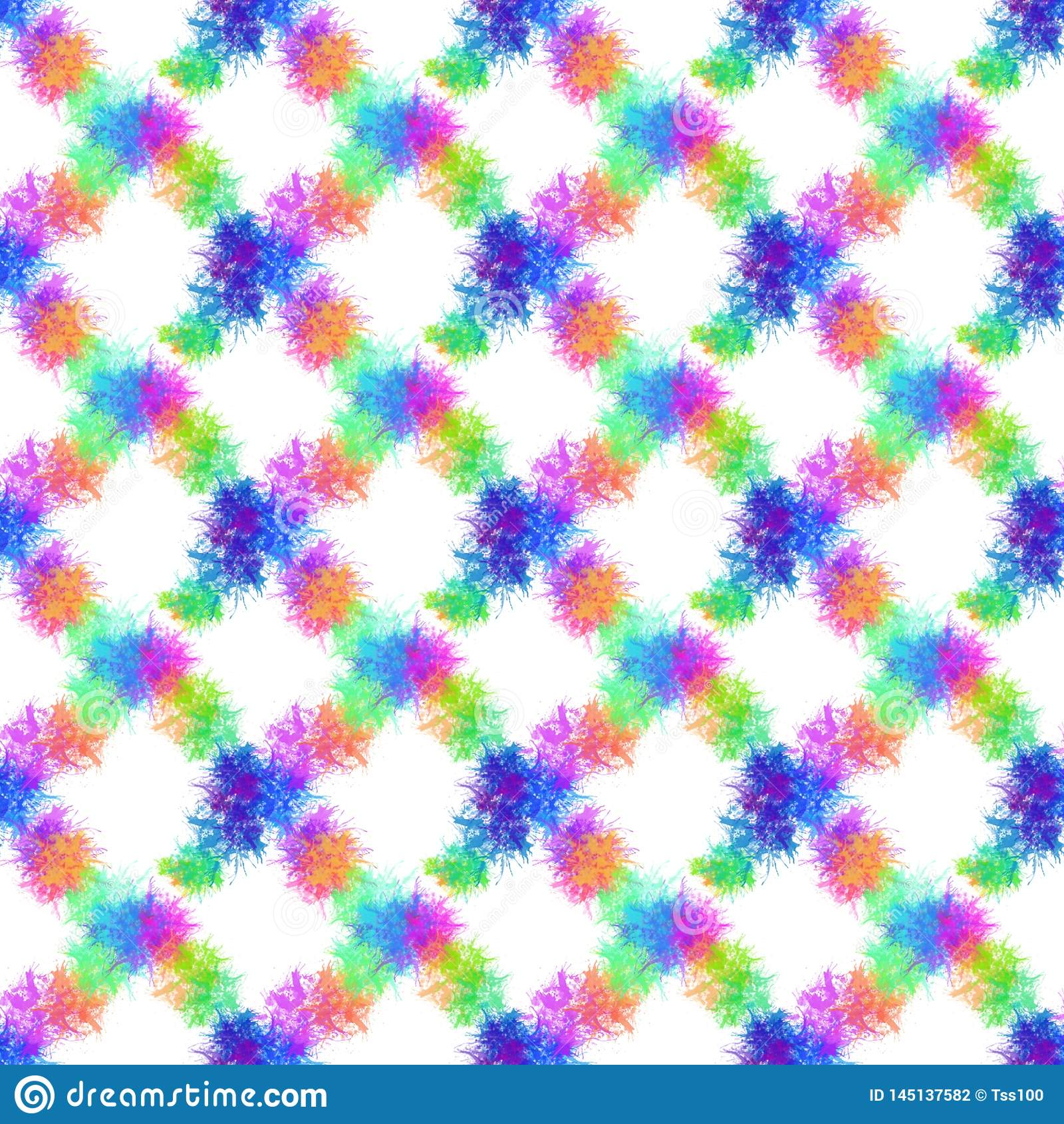 A seamless pattern with multicolor paint splashes on a white background