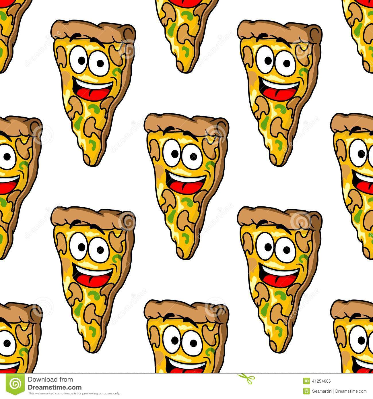 ... pizza slices with melted cheese and a happy smiling face in square