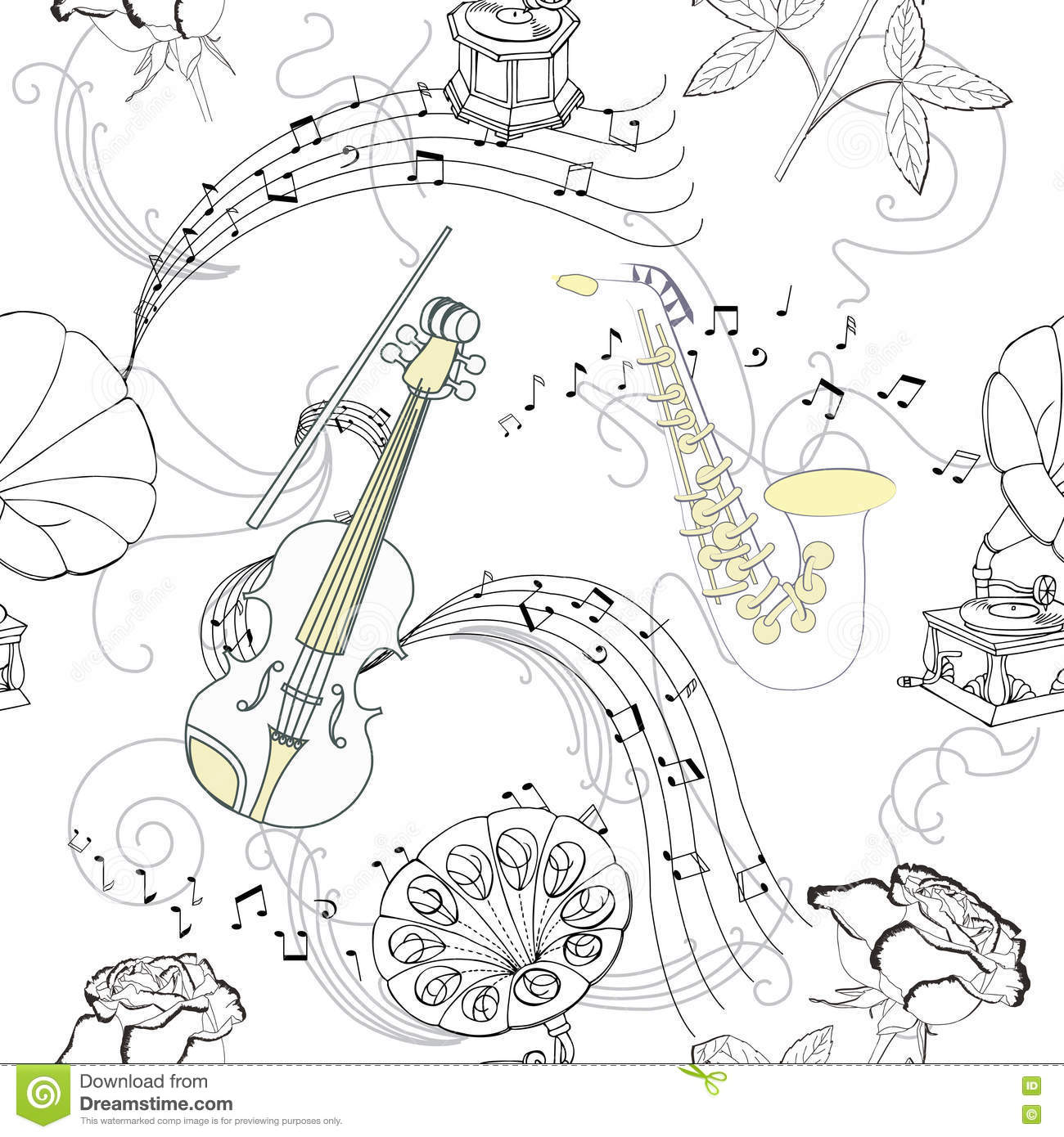 Seamless pattern with music instruments flowers and gramophone hand drawn sketches old record player vector illustration