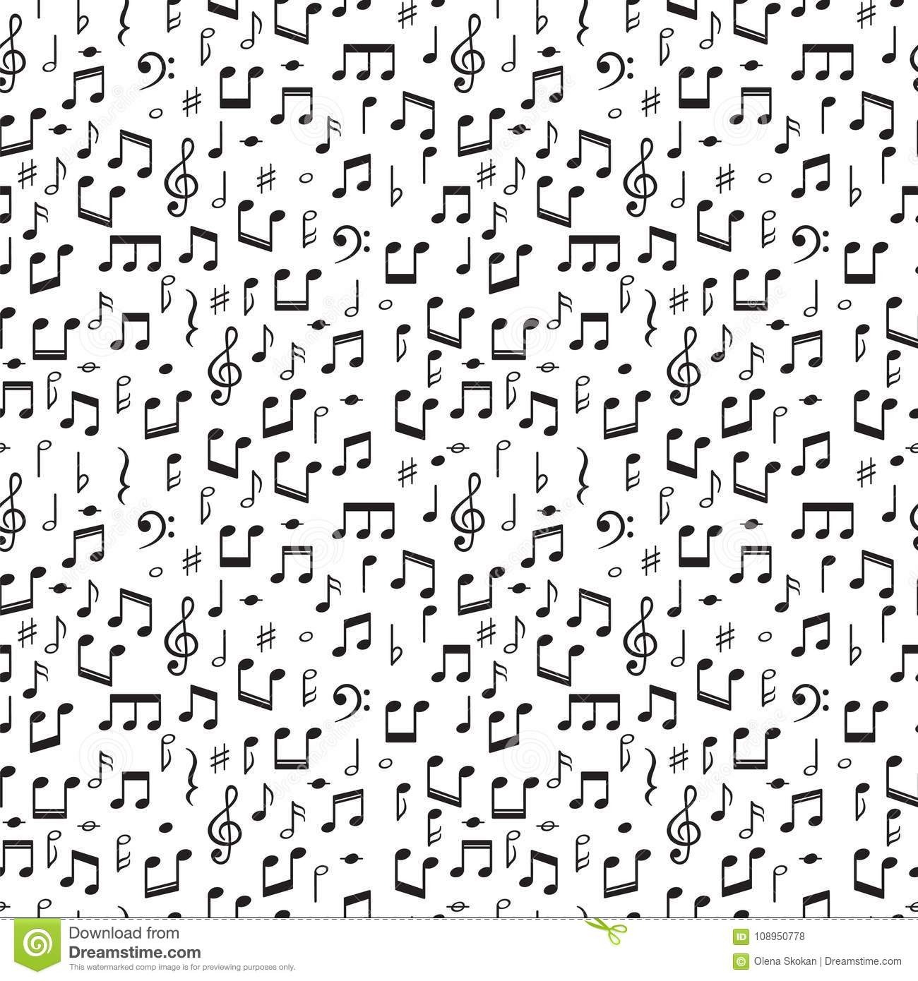Seamless Pattern With Music Notes  Hand Drawn Background