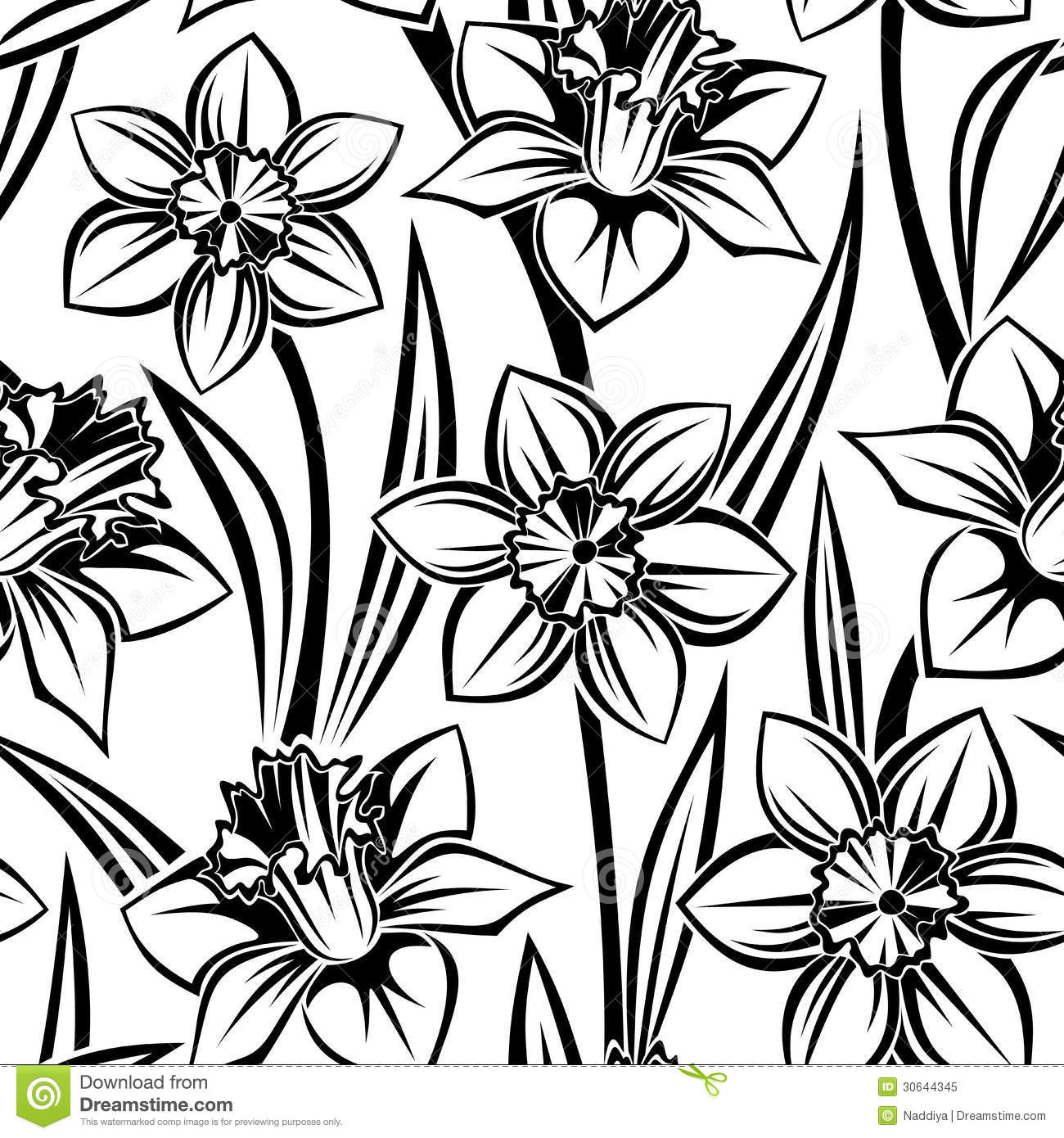 Black Flower Silhouette Pattern Royalty Free Stock Images: Vector Seamless Pattern With Narcissus. Royalty Free Stock