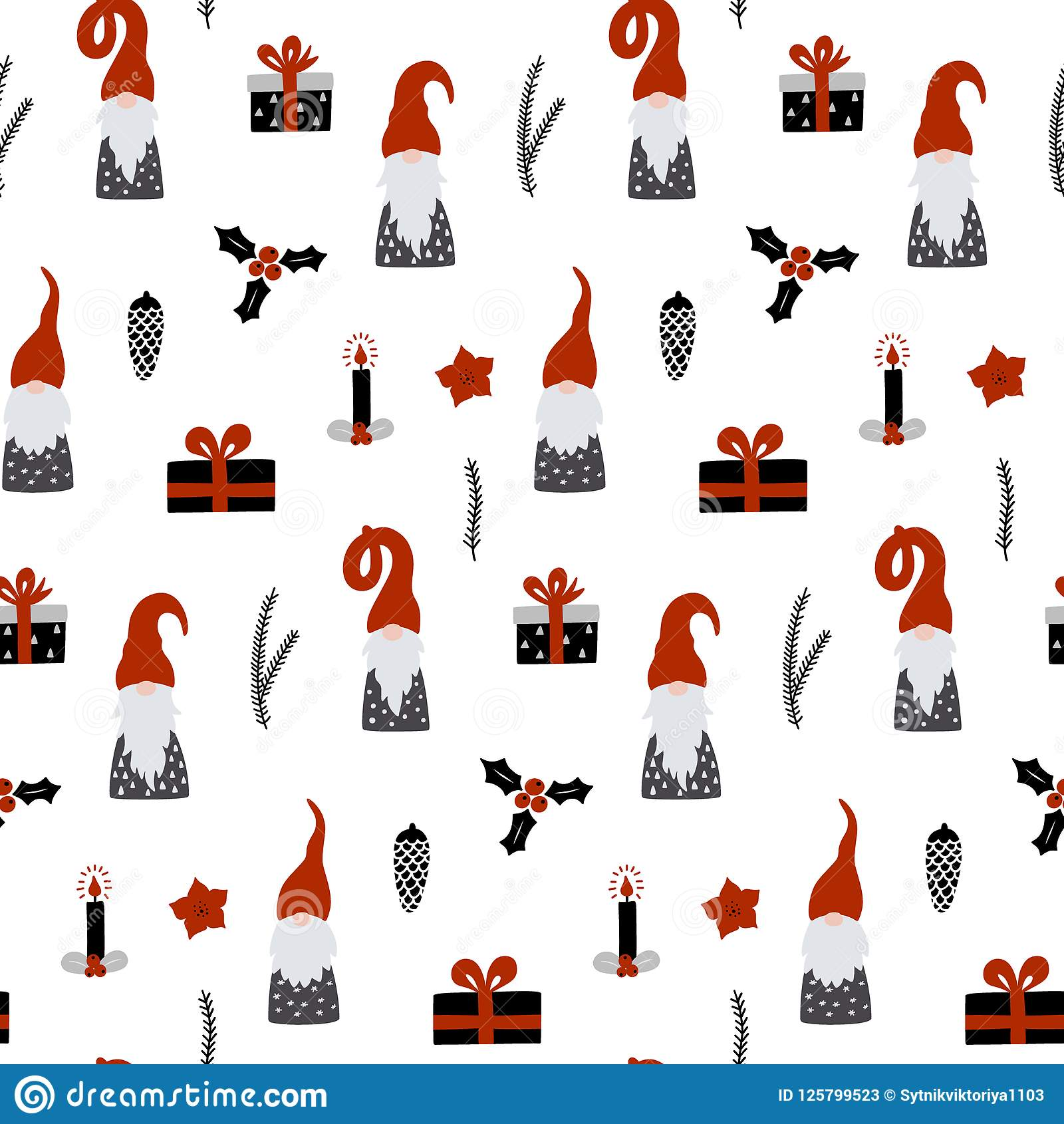 Christmas Gnomes Pattern.Seamless Pattern With Nordic Gnomes And Christmas Festive