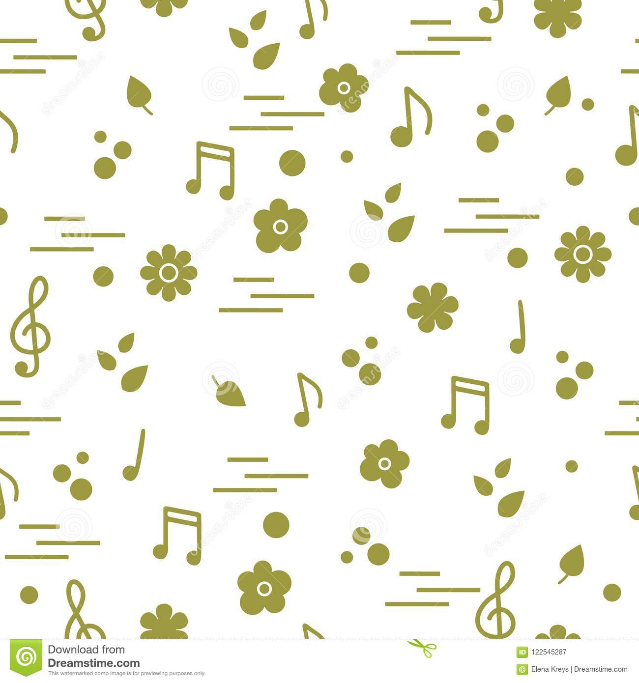 seamless pattern of notes flowers leaves stock vector