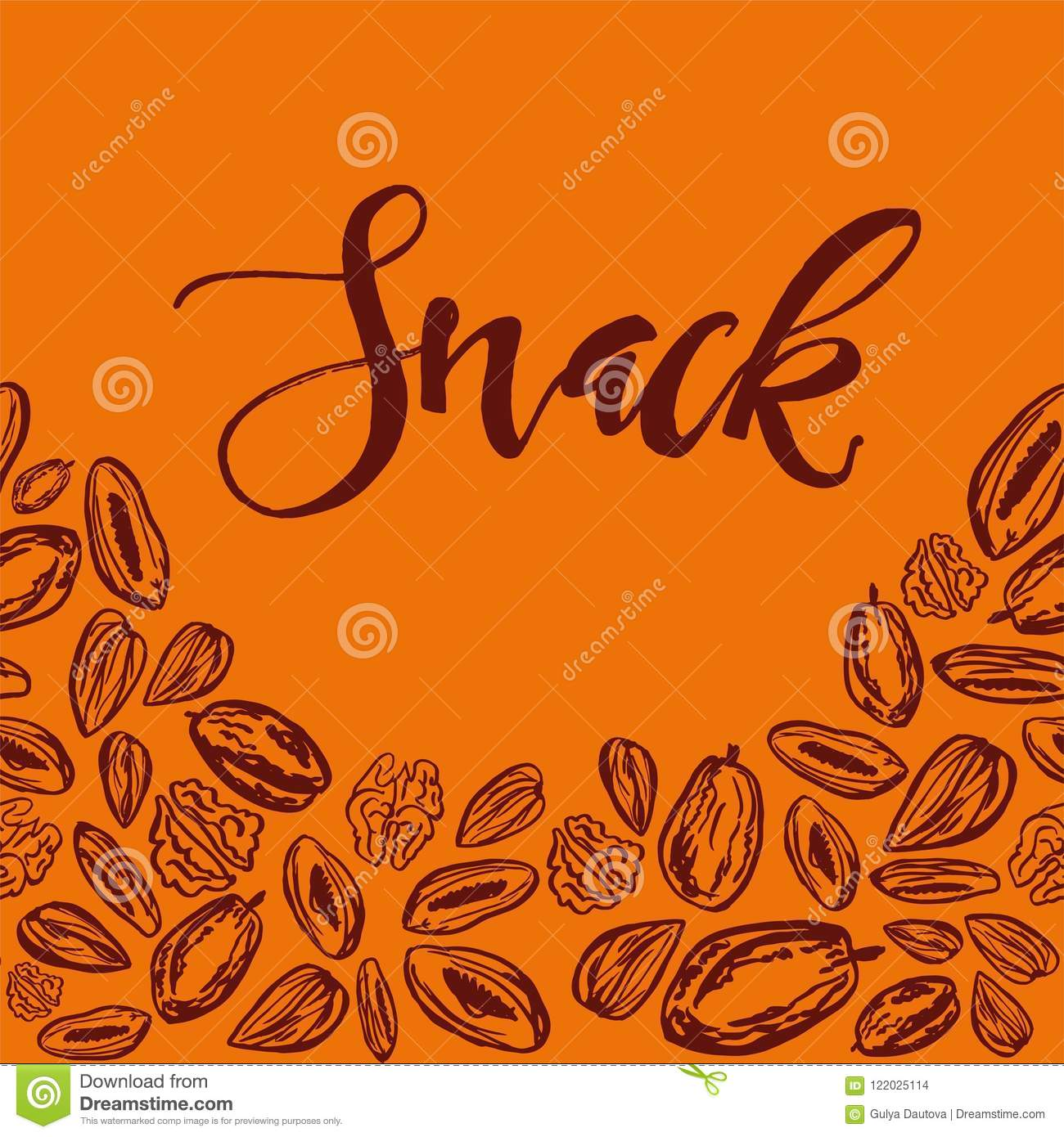 Seamless background with nuts and dried fruits. Vector illustration.