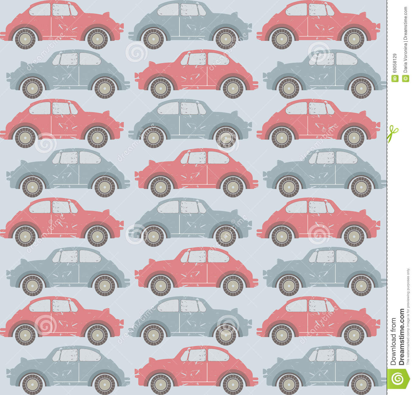 Seamless pattern with old cars on light blue background - Light blue linen wallpaper ...