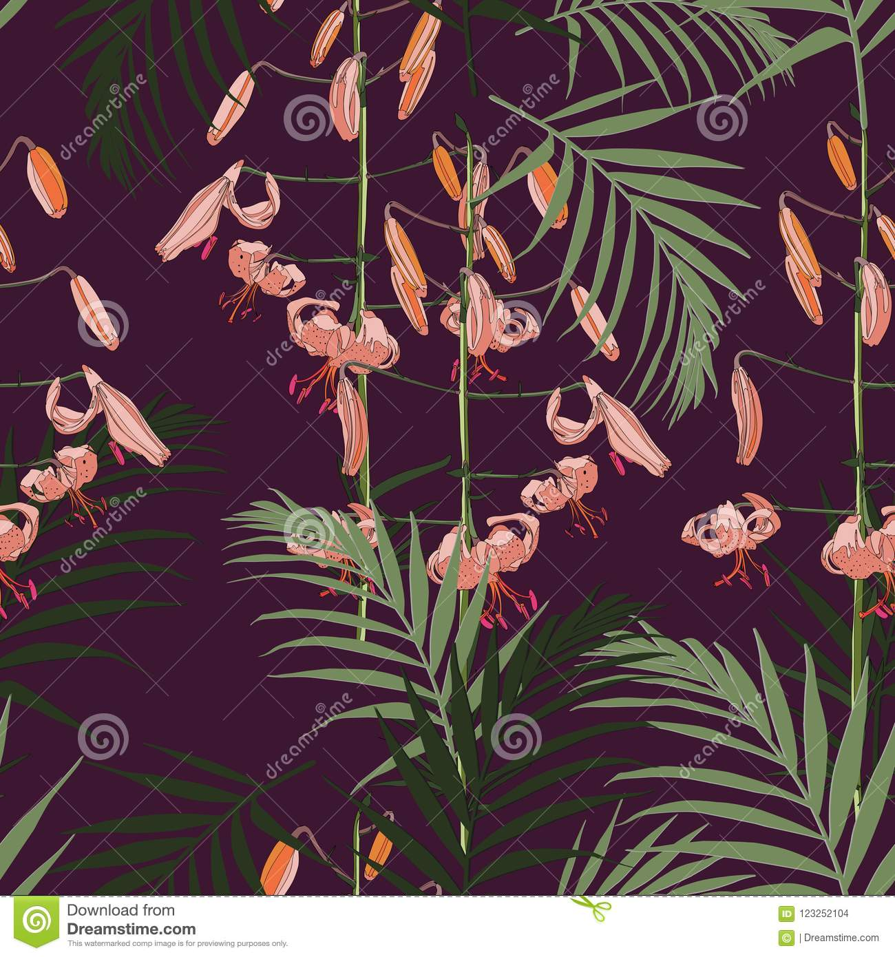 Seamless pattern, orange lilies flowers and green palm leaves on dark violet background