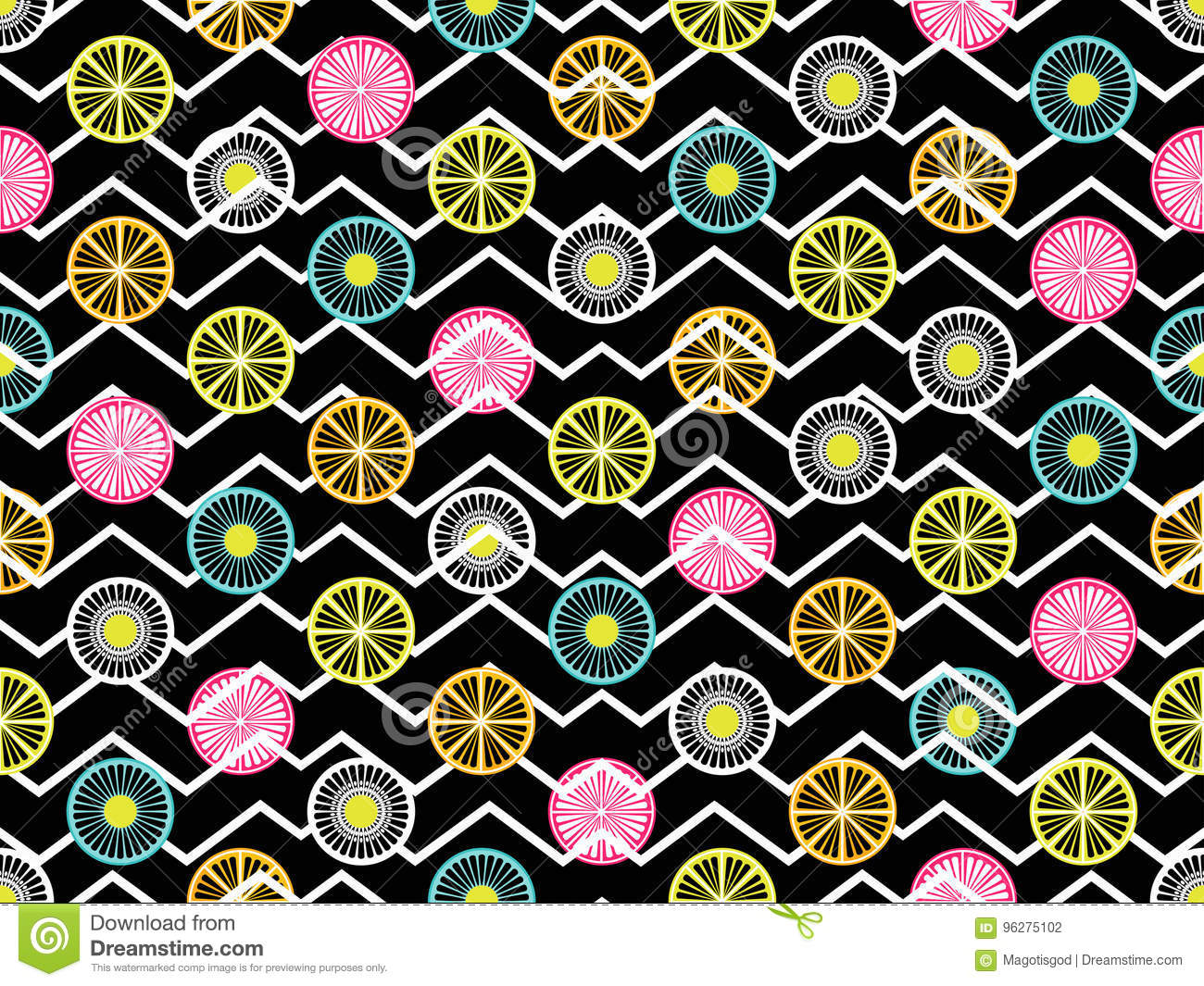 Seamless pattern with oranges, kiwi and lemon. Fruit on a background with zigzag lines. Vector