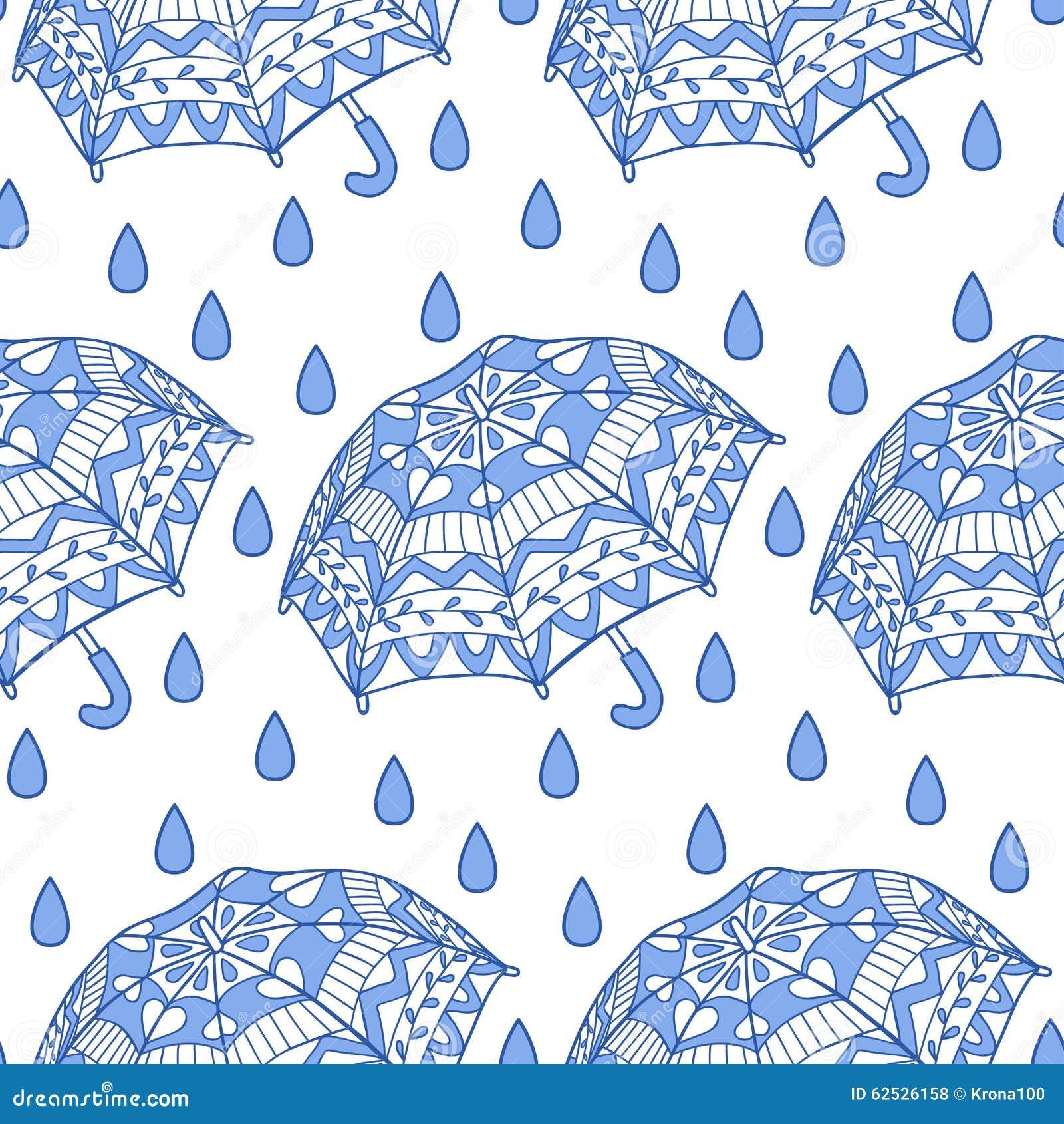 Seamless Pattern With Ornamental Umbrellas And Rain