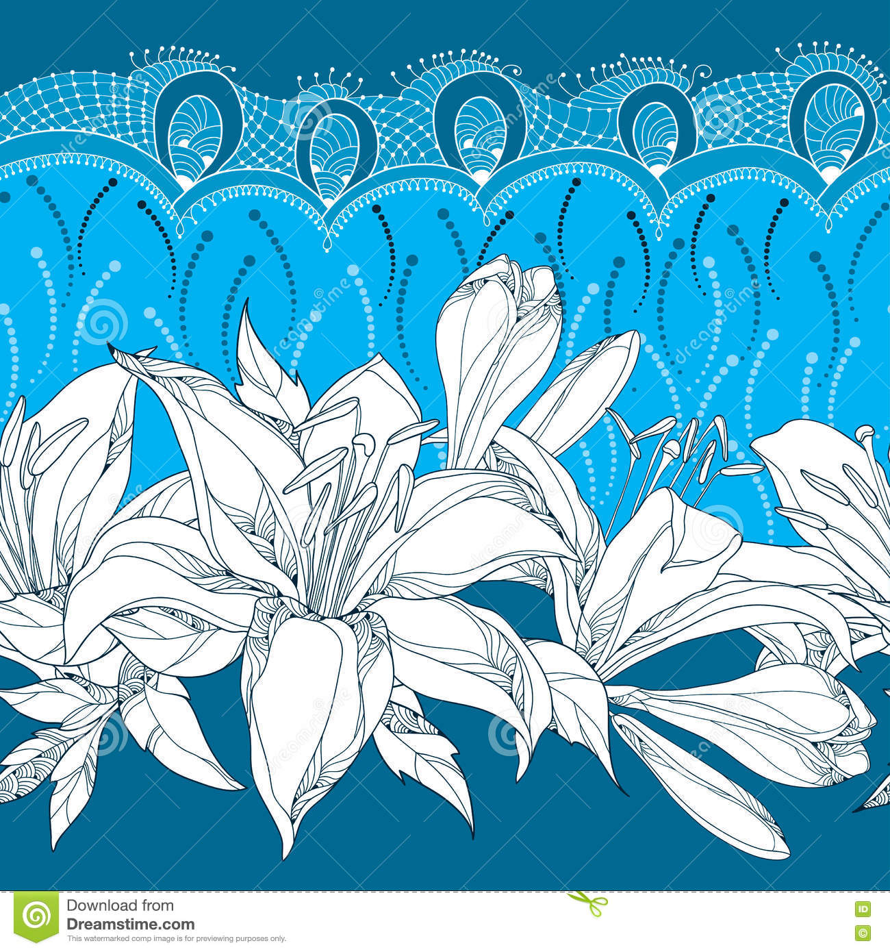 Download Seamless Pattern With Ornate Lily Flower In White, Buds, Leaves And Decorative Lace On The Blue Background. Floral Background. Stock Vector - Illustration of flora, frill: 74606591