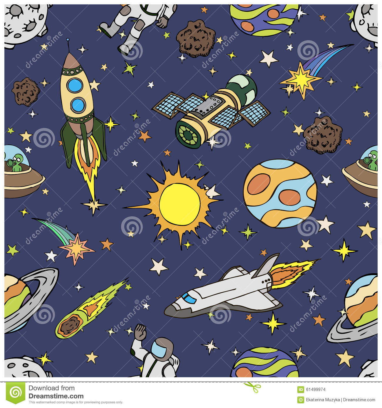 Seamless pattern with outer space doodles symbols stock for Outer space design