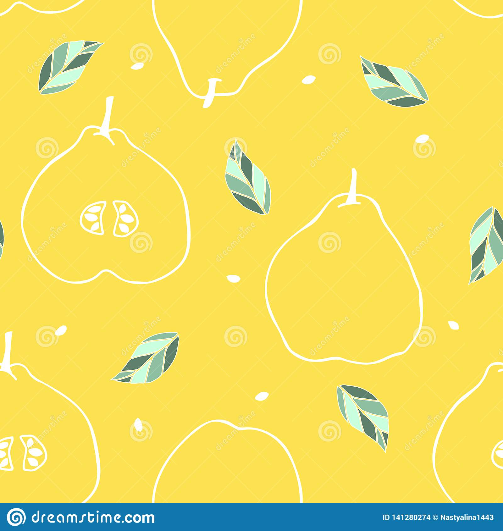 Seamless pattern with outline quince, leaf and seed. Tropical fruit background.Tasty wallpaper with one line drawing of quince